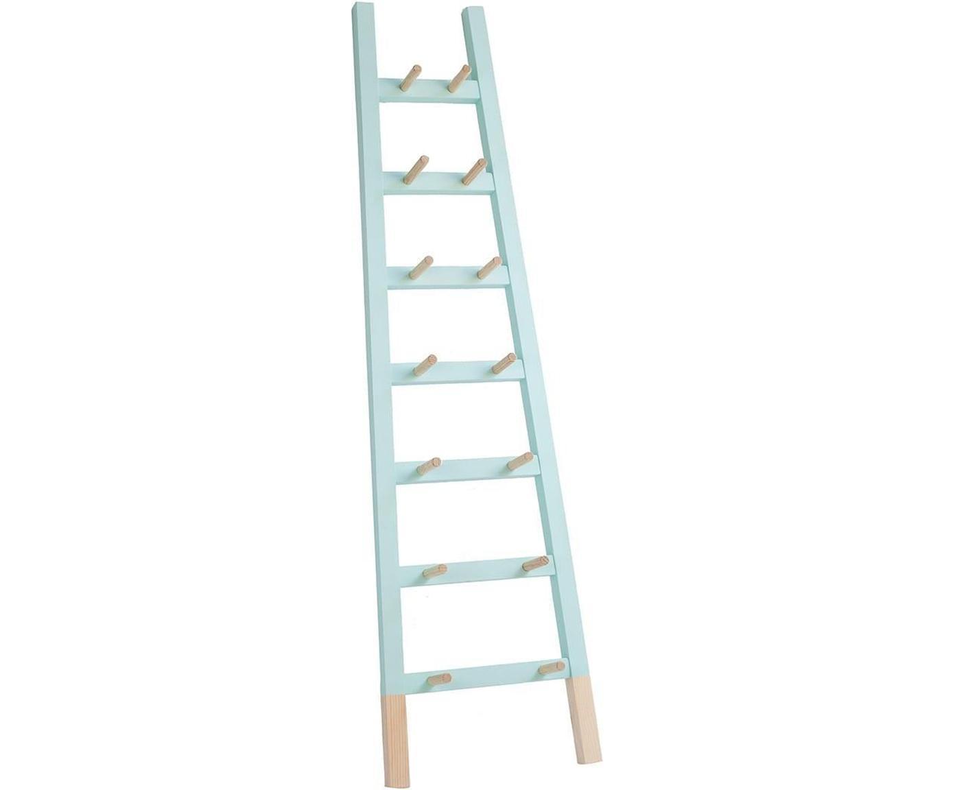Estantería escalera Agun, Madera de pino, pintado, Azul claro, An 46 x Al 170 cm