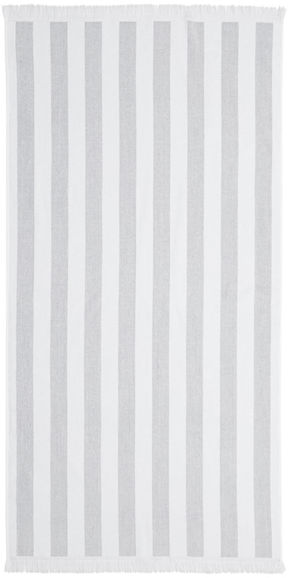 Gestreiftes Strandtuch Mare, 100% Baumwolle leichte Qualität 380 g/m², Grau, Weiß, 80 x 160 cm