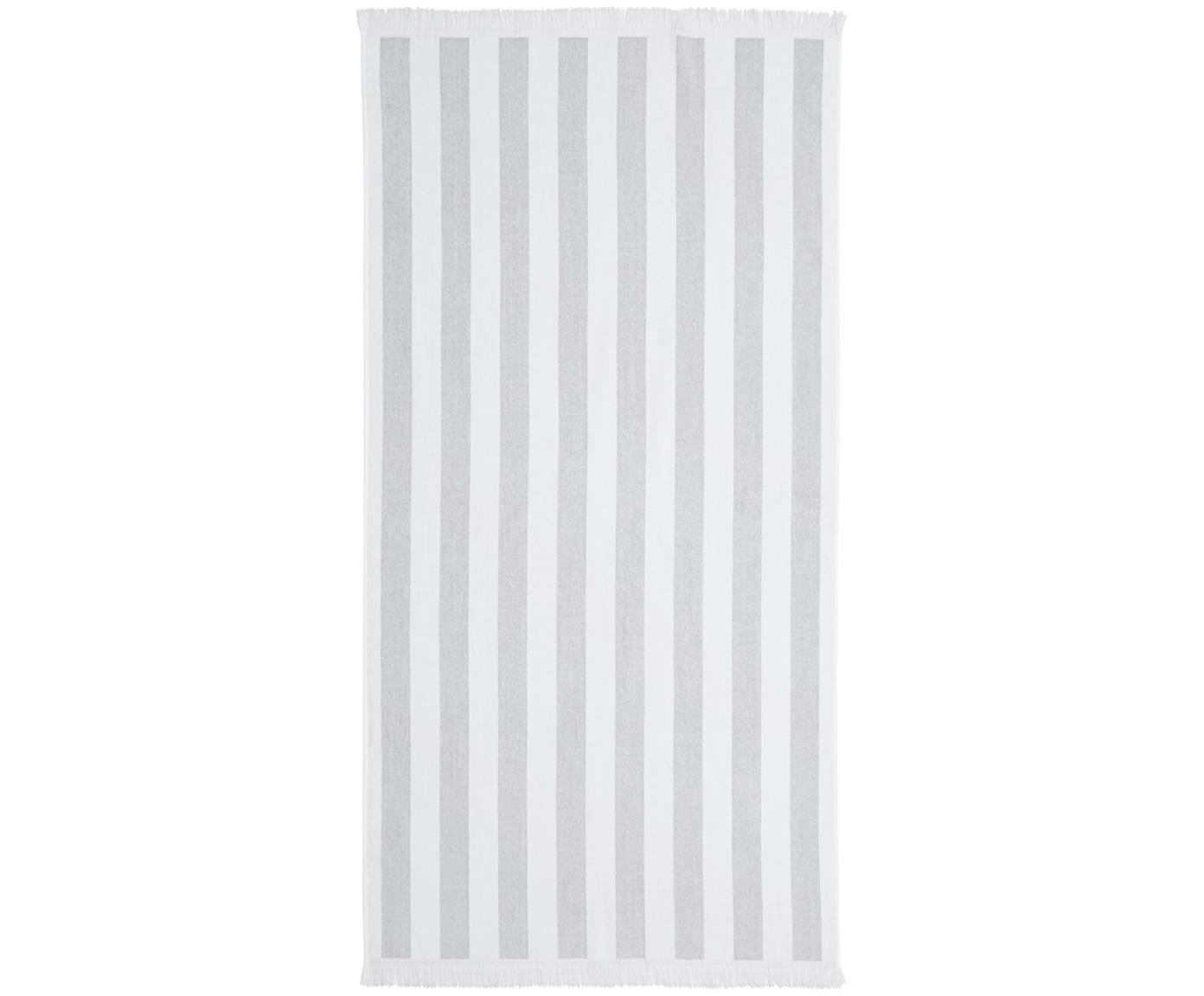 Telo mare a righe Mare, Cotone Qualità leggera 380 g/m², Grigio, bianco, Larg. 80 x Lung. 160 cm