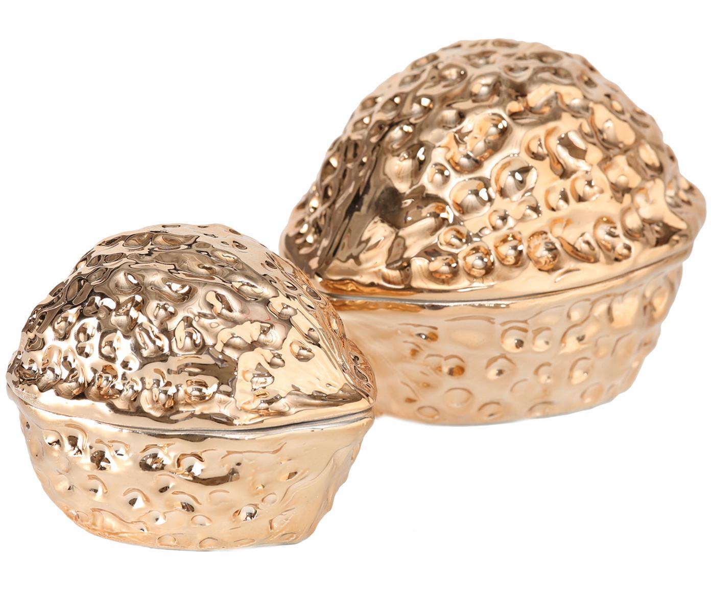 Set de tarros decorativos Walnut, 2pzas., Porcelana, Dorado, Tamaños diferentes