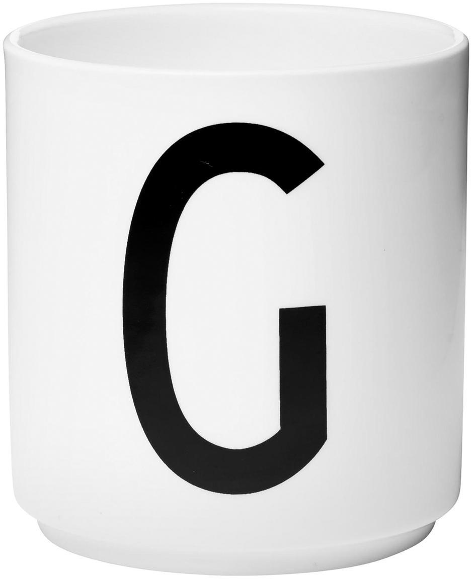 Tazza senza manico di design Personal (varianti dalla A alla Z), Fine Bone China (porcellana), Bianco, nero, Tazza G