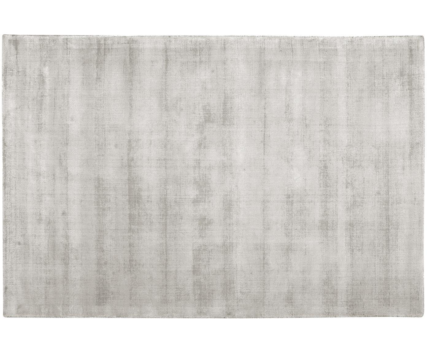 Handgeweven viscose vloerkleed Jane, Bovenzijde: 100% viscose, Onderzijde: 100% katoen, Lichtgrijs-beige, 200 x 300 cm