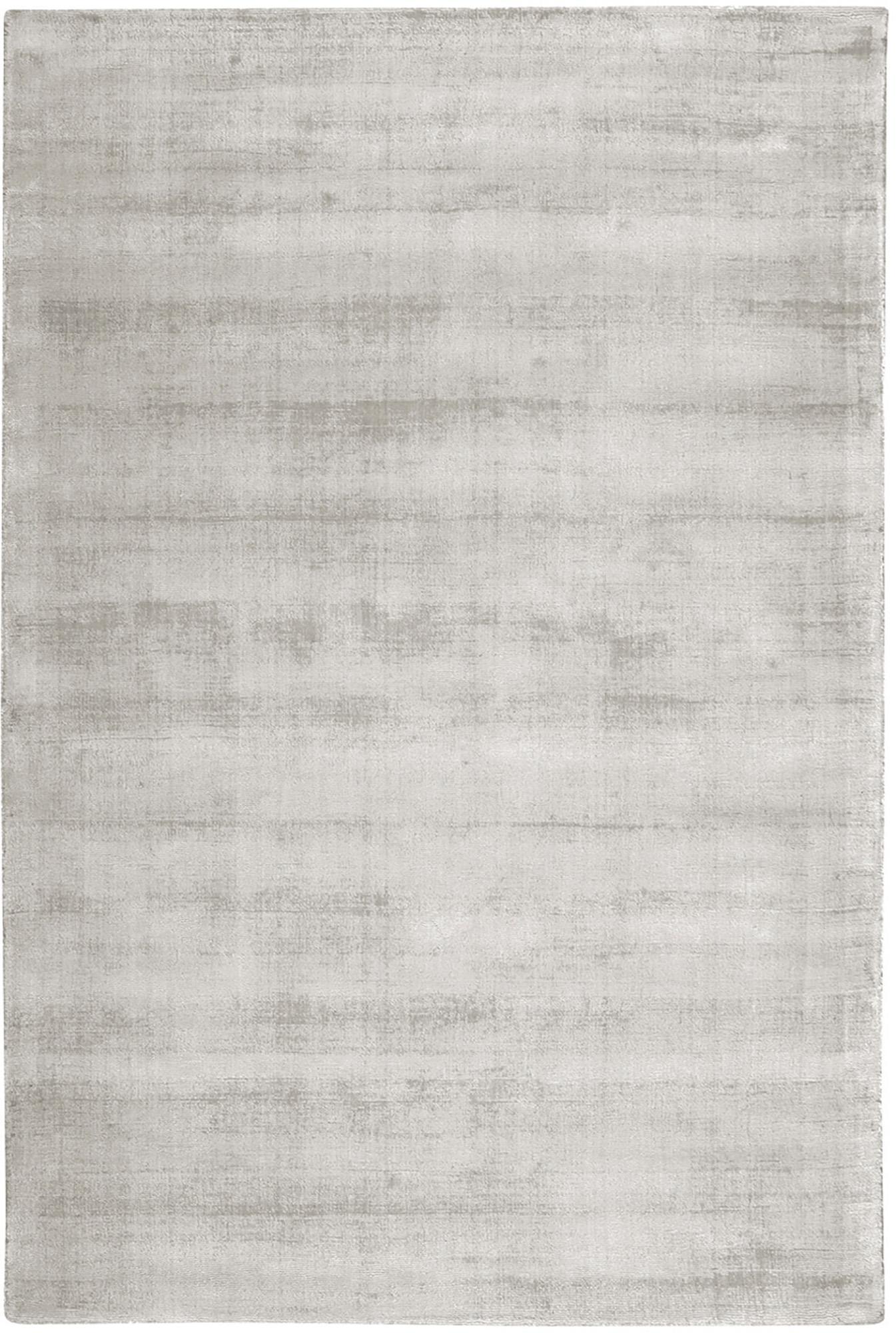 Alfombra artesanal de viscosa Jane, Parte superior: 100%viscosa, Reverso: 100%algodón, Gris claro, beige, An 200 x L 300 cm (Tamaño L)