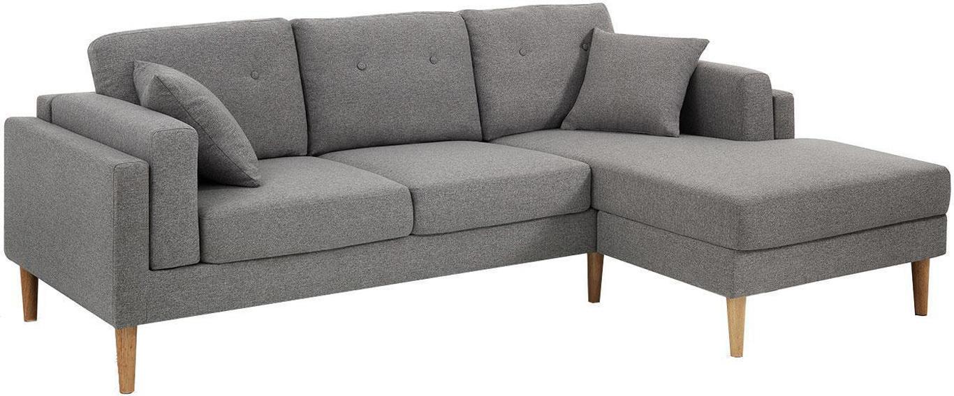 Sofá rinconera Giada (3 plazas), Tapizado: algodón, Patas: madera de roble, Gris, beige, An 230 x F 148 cm