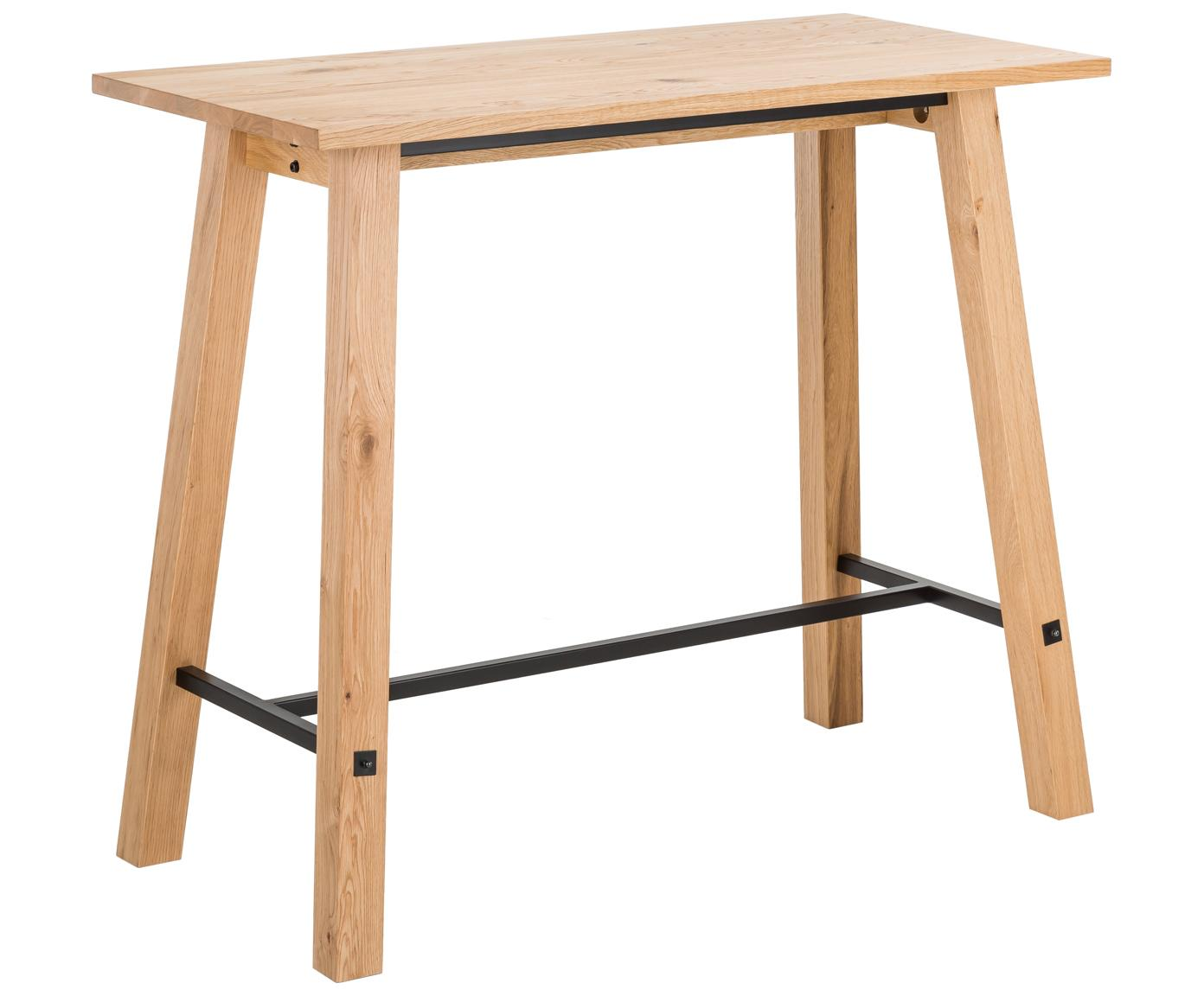 Stół barowy z drewna dębowego Stockholm, Drewno dębowe<br>Poprzeczka: czarny, 120 x 105 cm