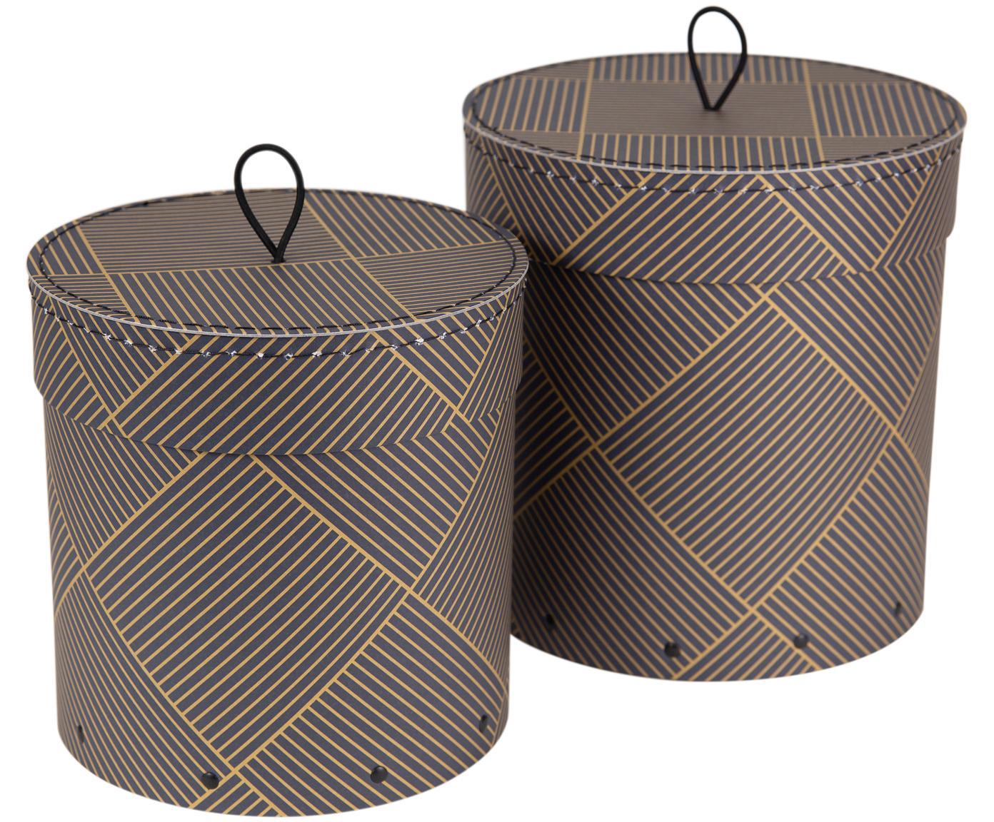 Set scatole custodia Hanna, 2 pz., Scatola: solido, cartone laminato, Manico: gomma, Dorato, grigio scuro, Diverse dimensioni