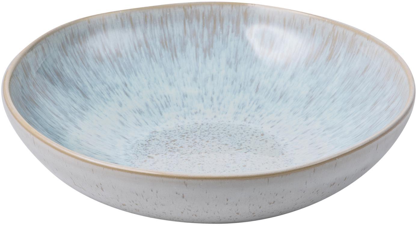 Handbemalte Servierschale Areia mit reaktiver Glasur, Steingut, Hellblau, Gebrochenes Weiss, Hellbeige, Ø 22 x H 5 cm