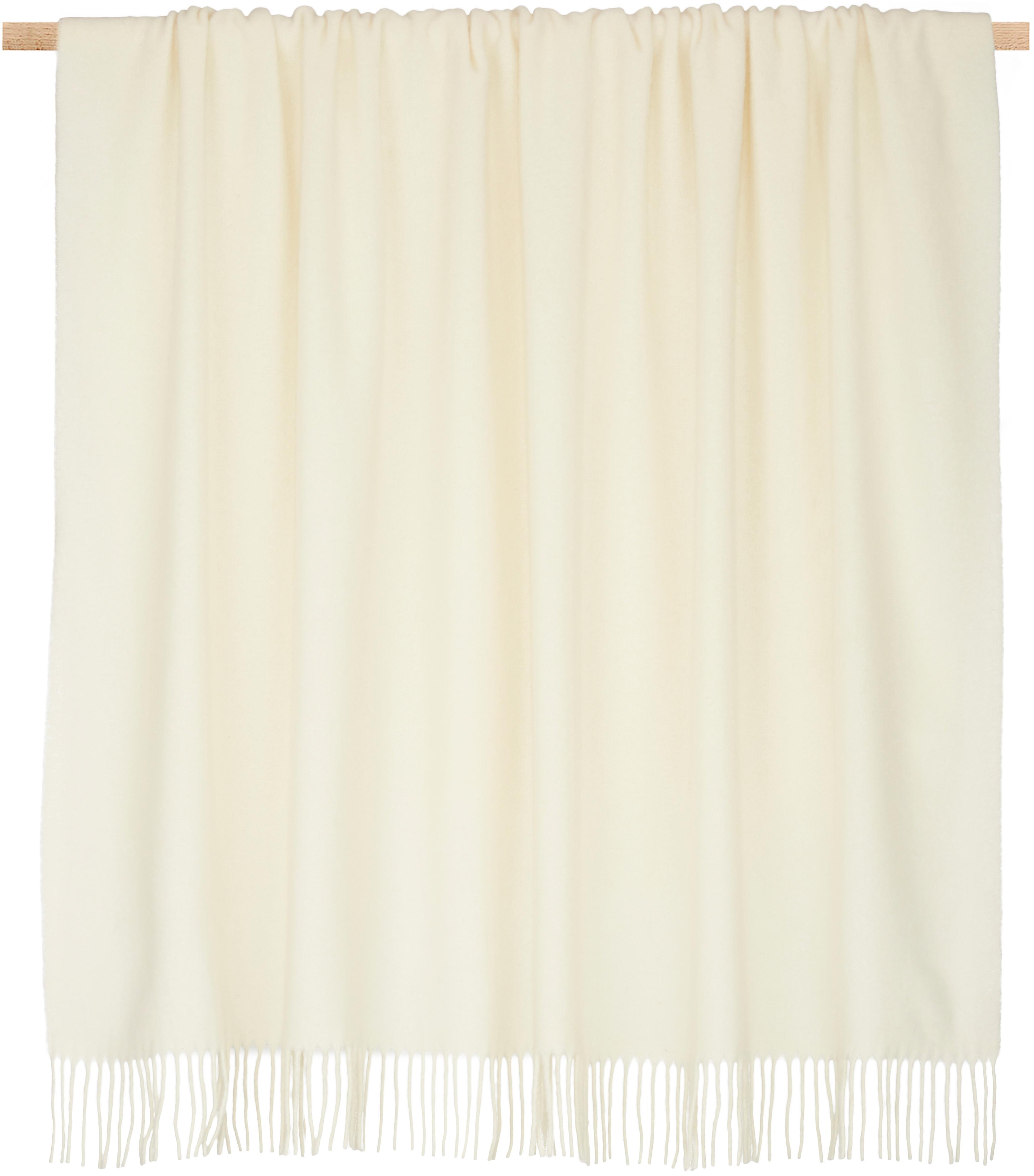 Plaid in lana leggero con finitura a frange Patriciu, 100% lana, Ecru, Larg. 130 x Lung. 170 cm