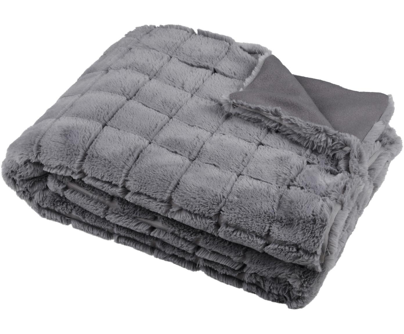 Flauschiges Plaid Hamilton, 100% Polyester, Grau, 130 x 150 cm