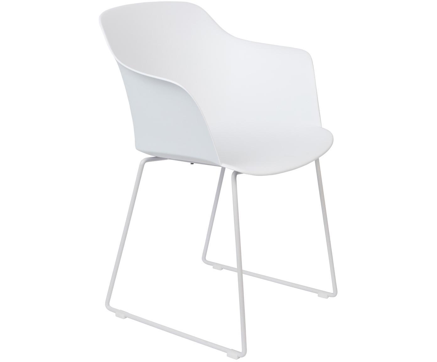 Krzesło z tworzywa sztucznego z podłokietnikami Tango, 2 szt., Nogi: metal malowany proszkowo, Biały, S 58 x G 54 cm