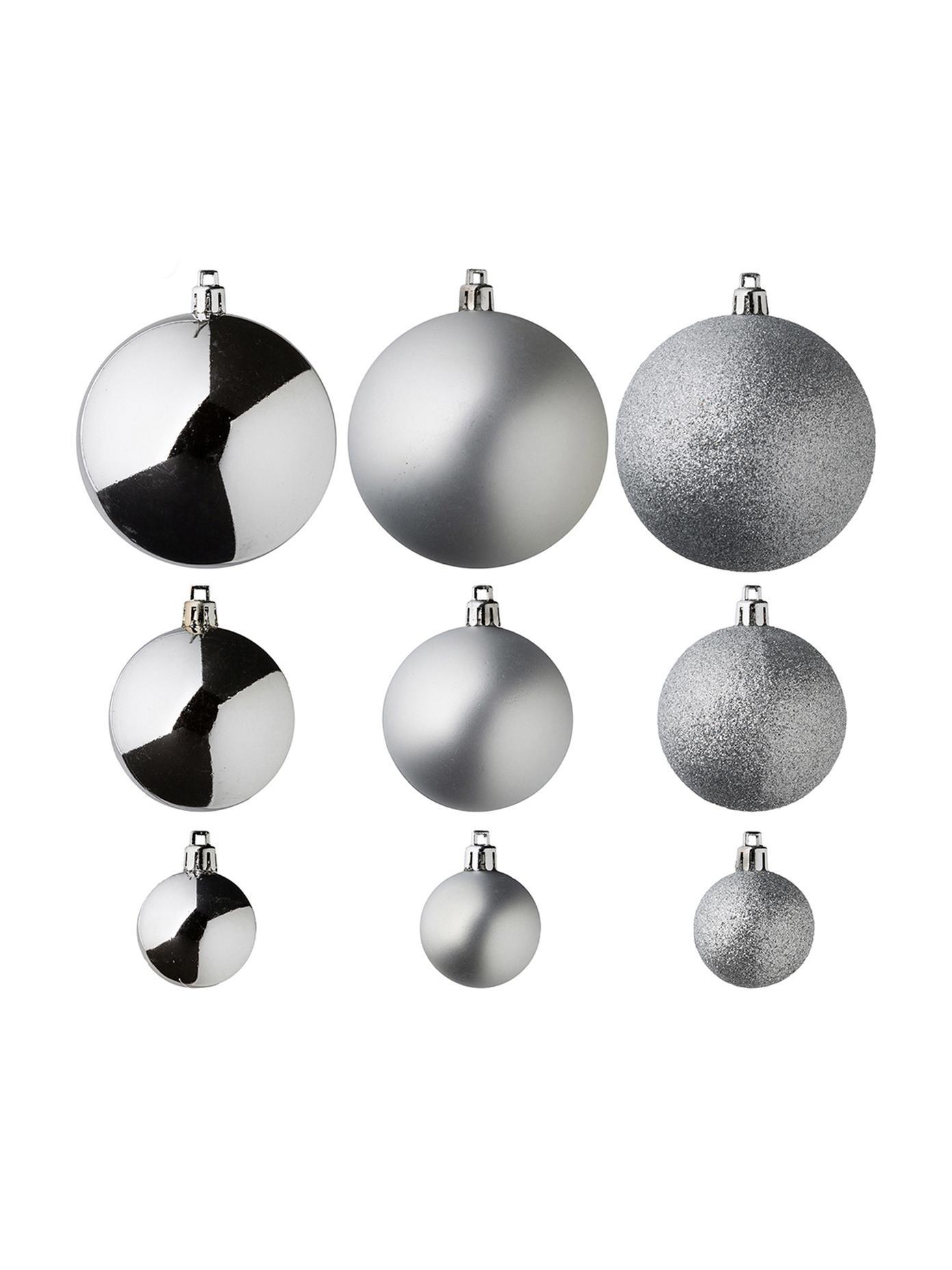 Kerstballenset Silvia, 46-delig, Kunststof, Zilverkleurig, Verschillende formaten
