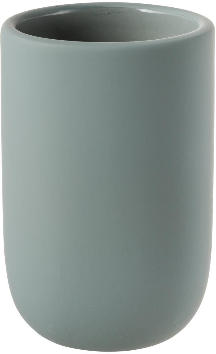 Kubek na szczoteczki Lotus, Ceramika, Zielony, Ø 7 x W 10 cm