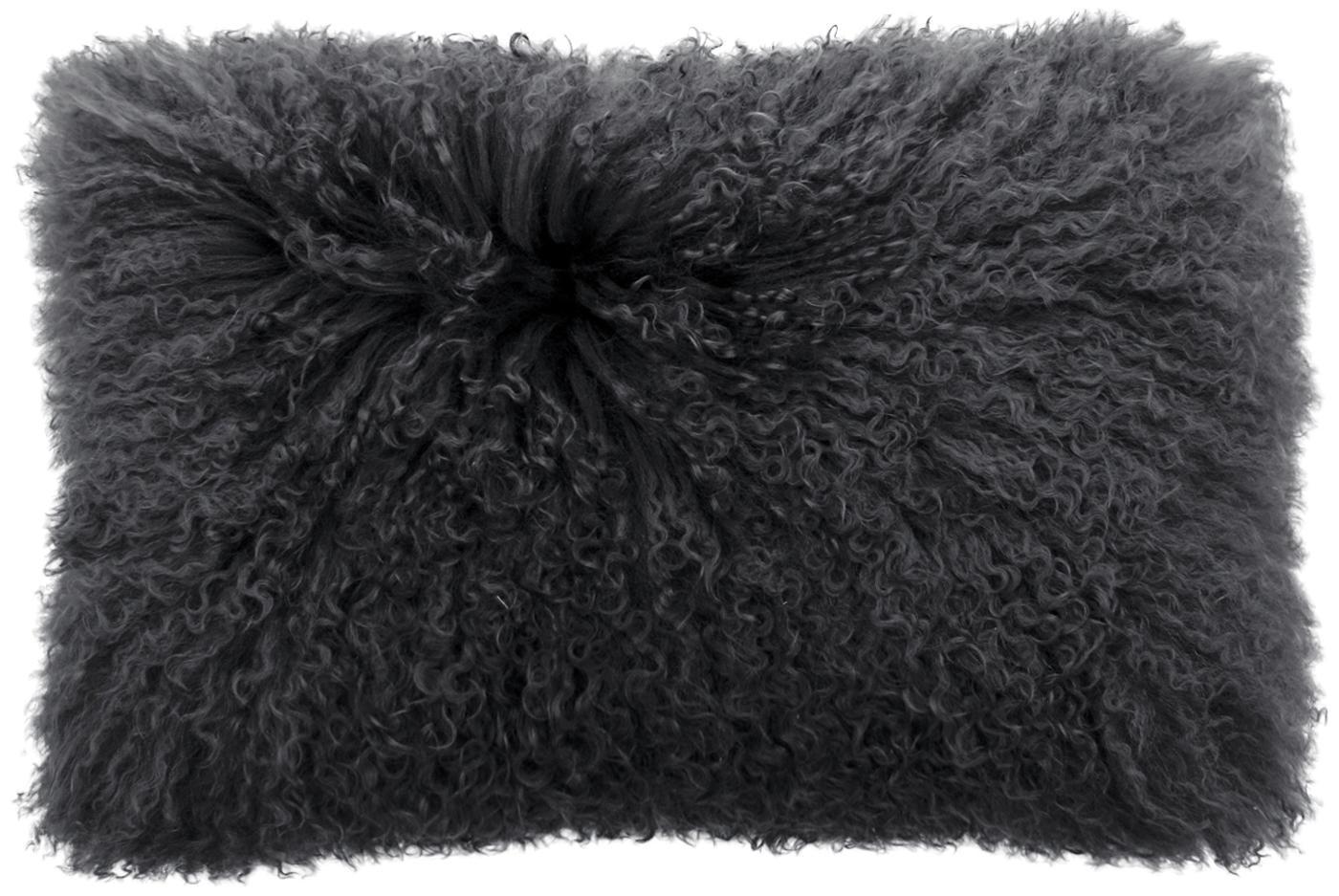 Funda de cojín en piel de cordero rizada Ella, Parte delantera: 100%piel de cordero de M, Parte trasera: 100%poliéster, Gris, An 30 x L 50 cm