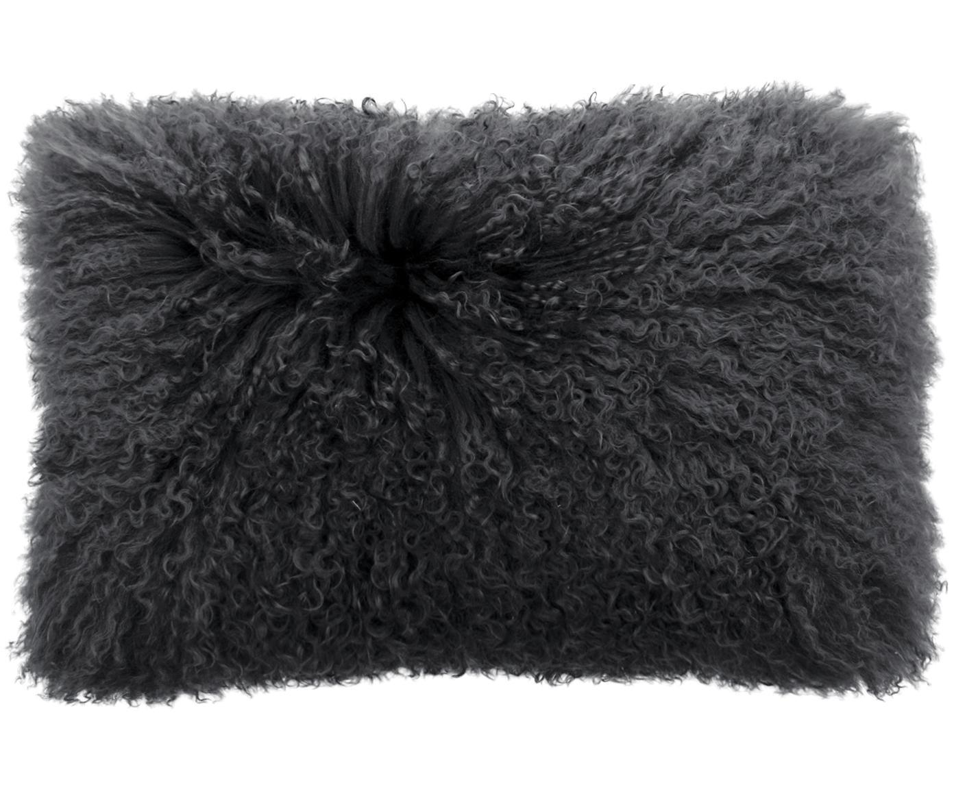 Federa arredo in pelliccia d'agnello a pelo lungo Ella, Retro: 100% poliestere, Grigio, Larg. 30 x Lung. 50 cm