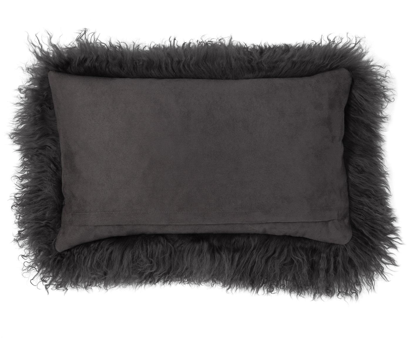 Langhaar-Lammfell Kissenhülle Ella, gelockt, Vorderseite: 100% mongolisches Lammfel, Rückseite: 100% Polyester, Dunkelgrau, 30 x 50 cm