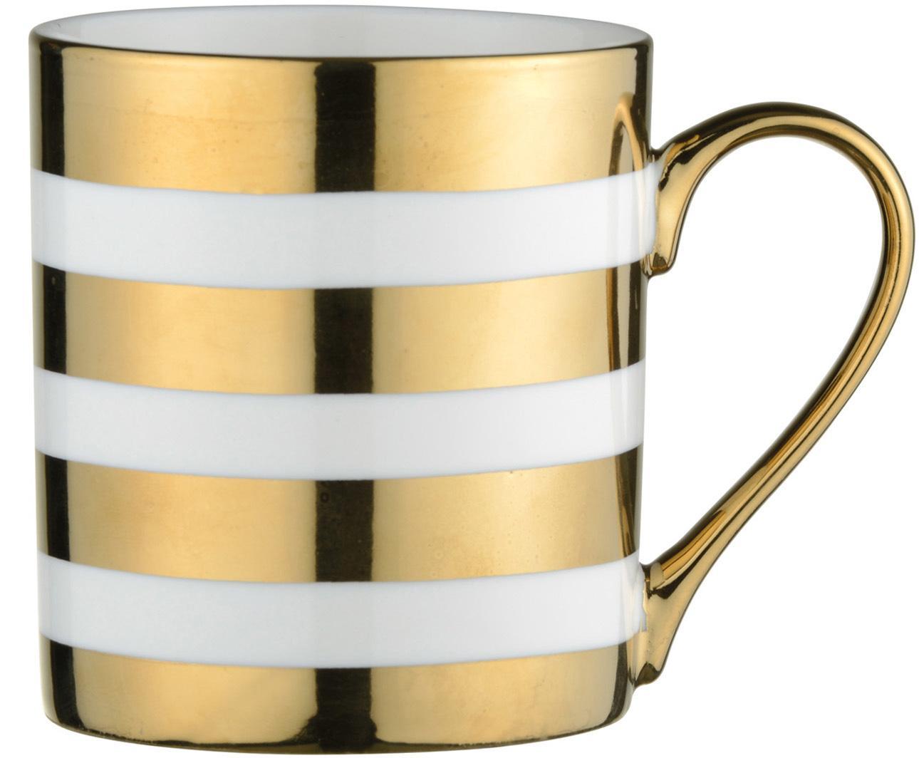 Kubek Stripes, 4 szt., Porcelana, Biały, odcienie złotego, Ø 9 x W 10 cm
