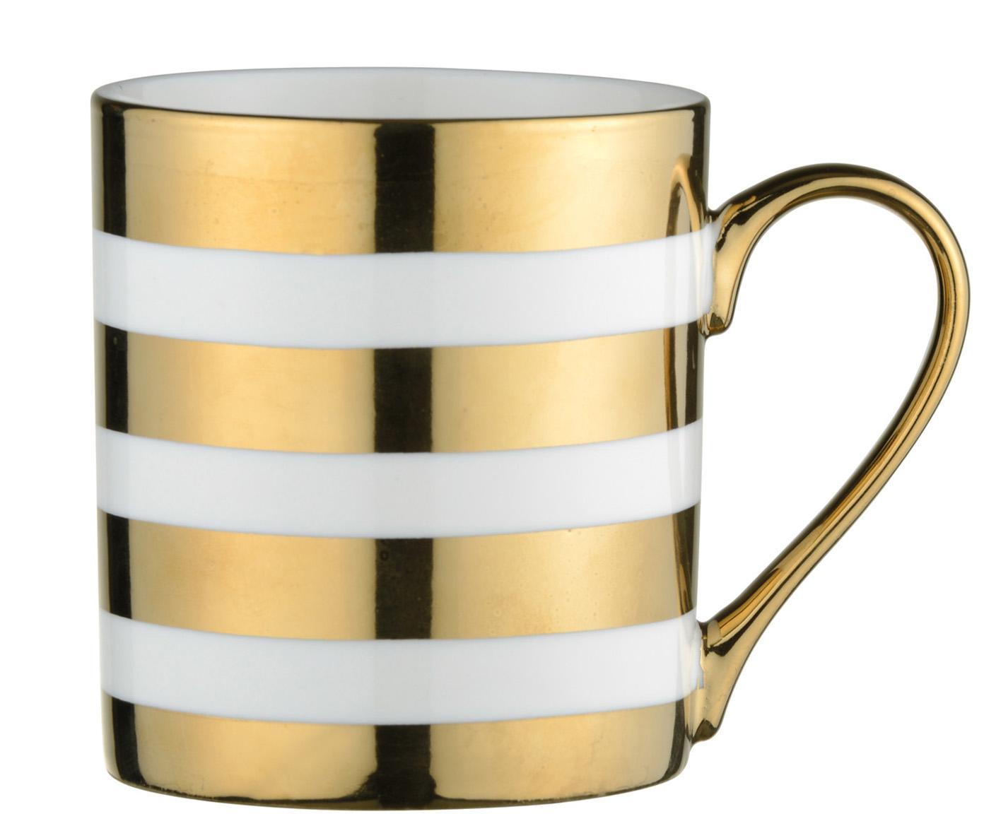 Tassen Stripes mit goldenem Dekor, 4 Stück, Porzellan, Weiß, Goldfarben, Ø 9 x H 10 cm