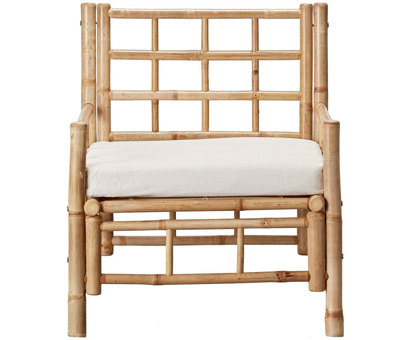 Bamboehouten fauteuil Mandisa met zitkussen, Frame: onbehandeld bamboehout, Bekleding: canvas, Bamboehoutkleurig, wit, B 70  x D 70 cm
