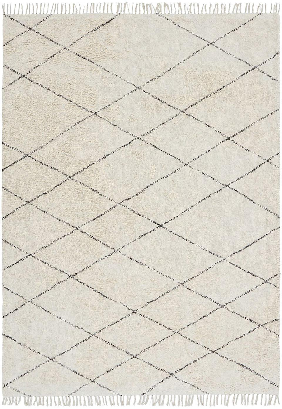 Katoenen vloerkleed Less met ruitjesmotief, 100% katoen, Gebroken wit, zwart, 160 x 230 cm