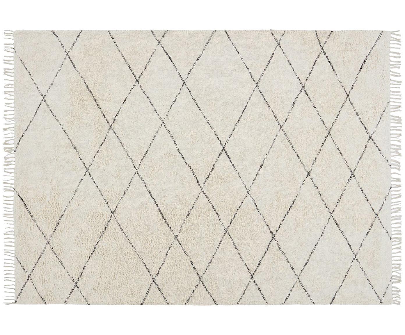 Alfombra de algodón Less, Algodón, Blanco crudo, negro, An 160 x L 230 cm (Tamaño M)