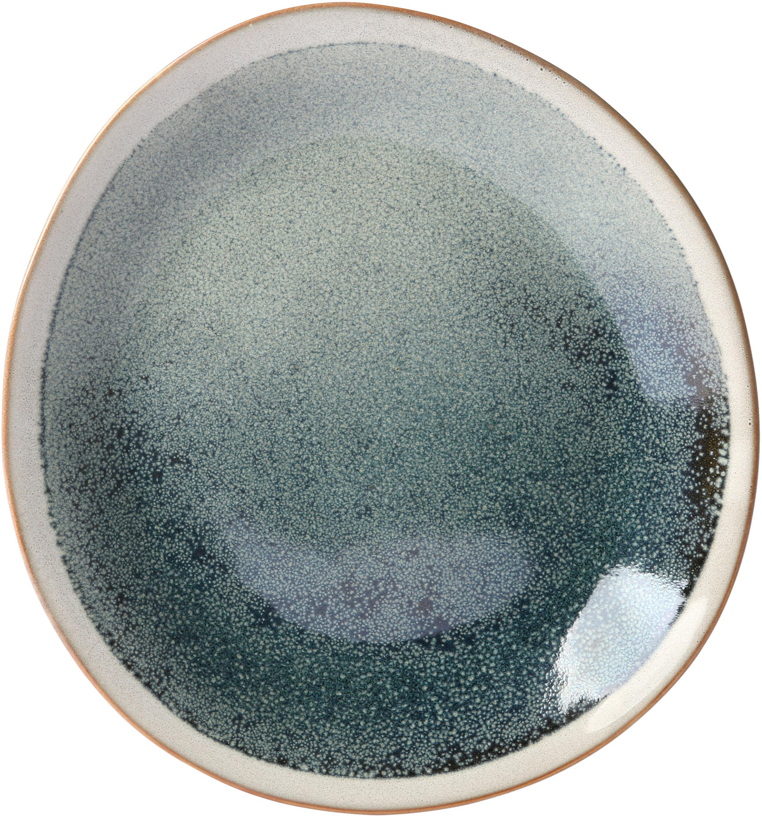 Piattino da dessert artigianale anni '70 2 pz, Ceramica, Verde, crema, Ø 22 cm