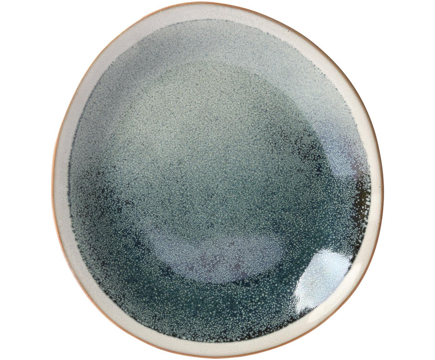 Piatto da colazione artigianale anni '70 2 pz, Ceramica, Verde, crema, Ø 22 cm