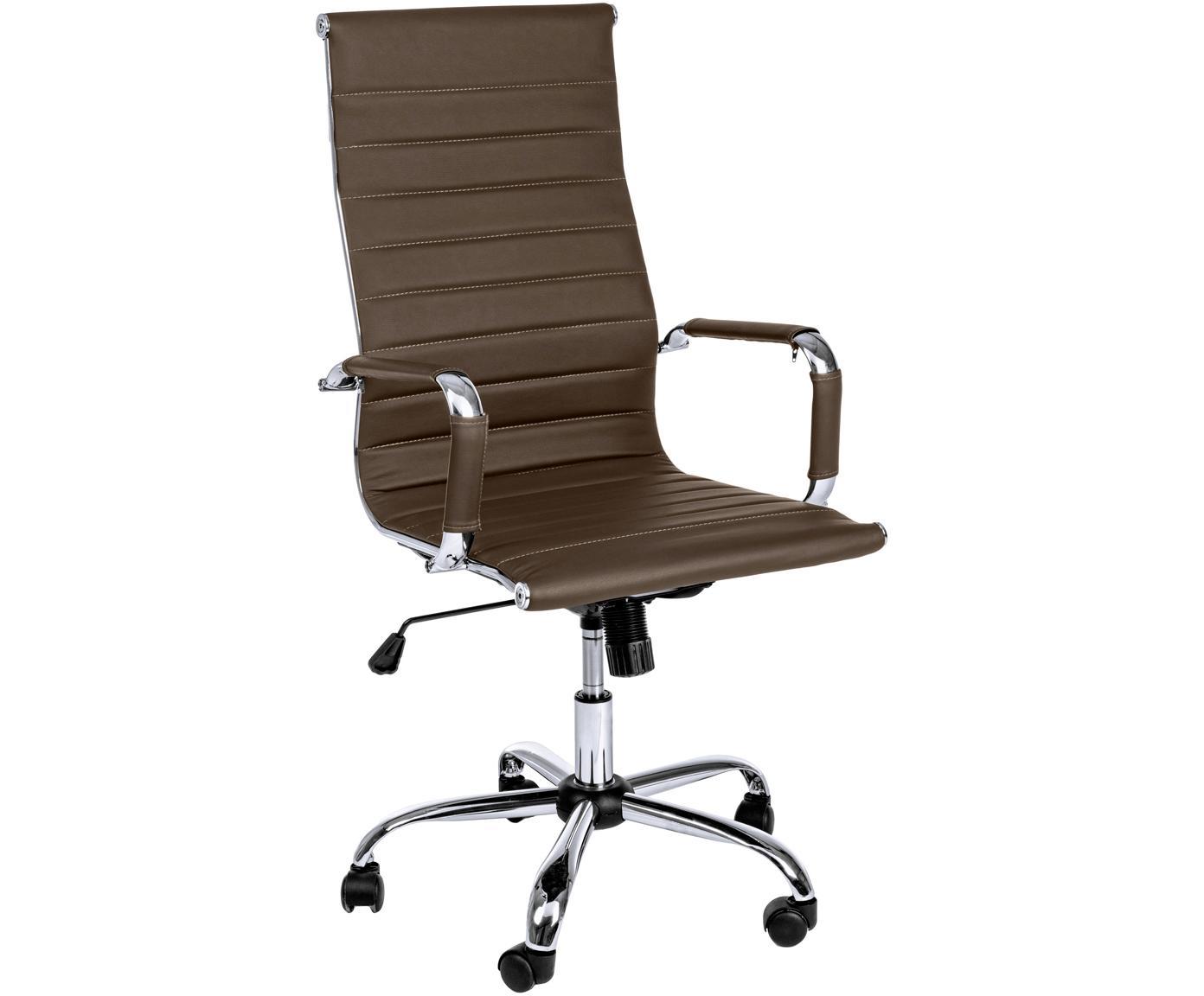 Biurowe krzesło obrotowe ze sztucznej skóry Praga, Stelaż: metal chromowany, Tapicerka: sztuczna skóra (poliureta, Brązowy, S 59 x W 110 cm