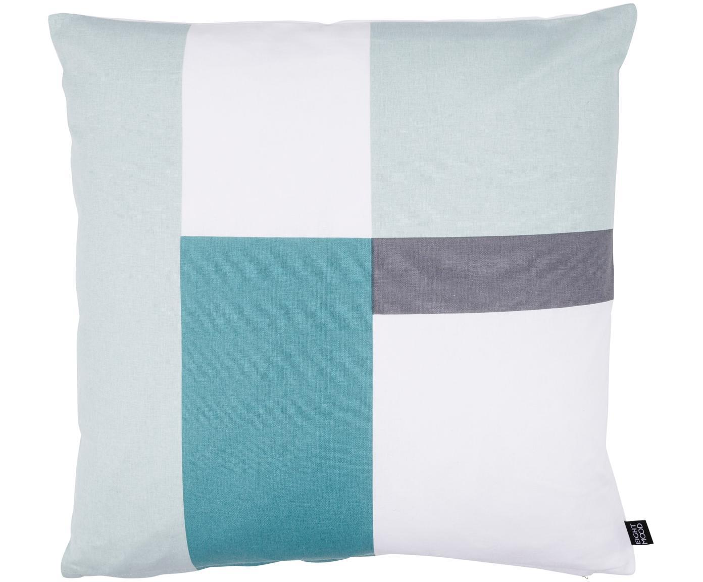 Cuscino reversibile Cubo, Rivestimento: cotone, Toni verde menta, bianco, grigio, P 50 x L 50 cm