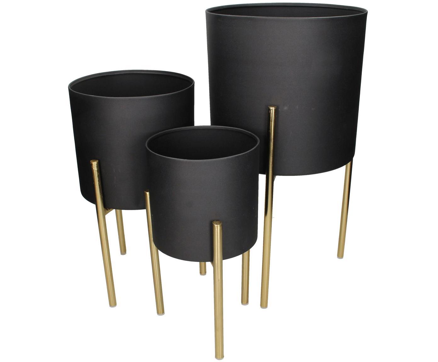 Übertopf-Set Blako, 3-tlg., Metall, beschichtet, Schwarz, Goldfarben, Sondergrößen