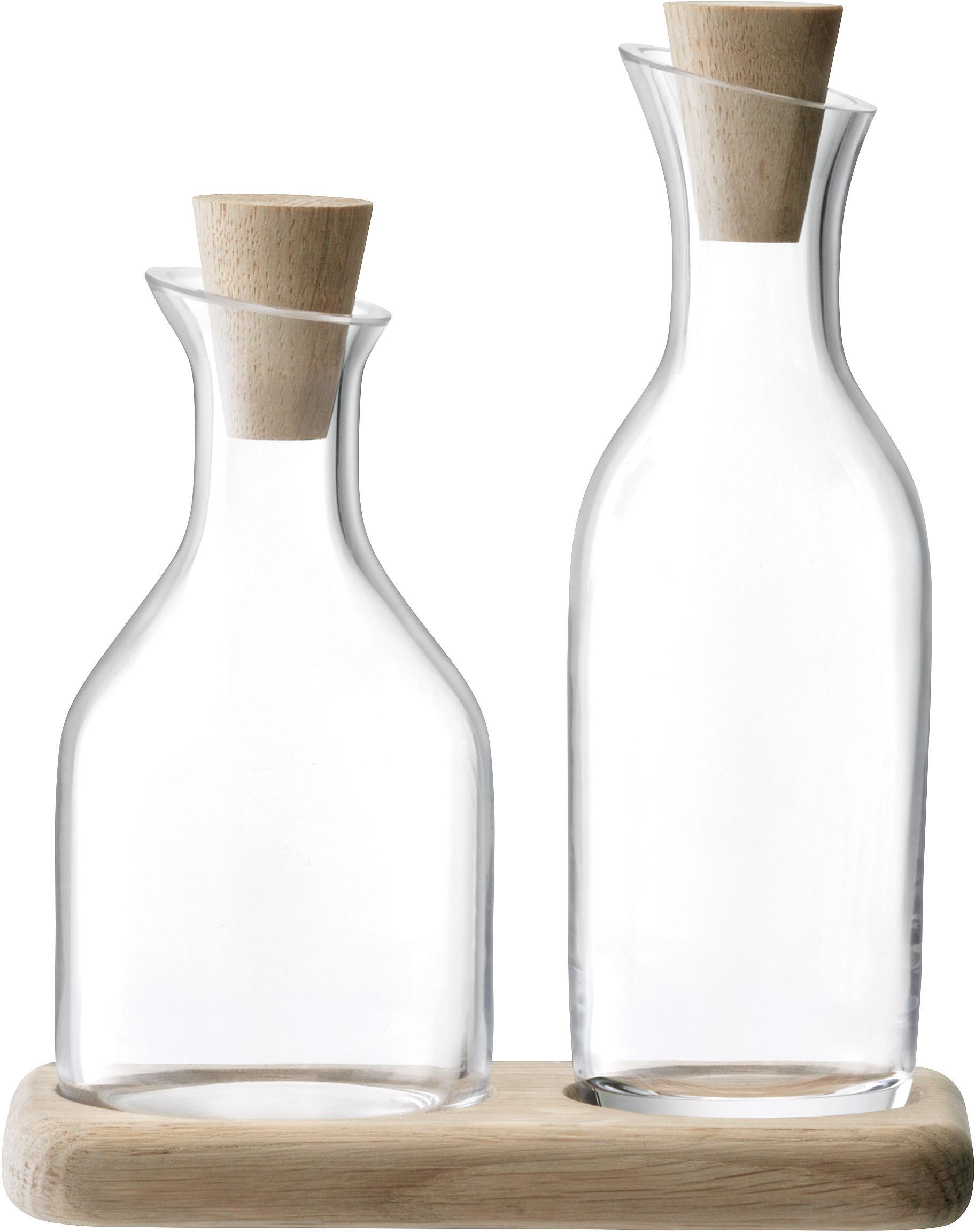 Vase-doseur huile & vinaigre avec bouchon Serve, 3élém., Vase-douseur: transparent Socle: bois de chêne Bouchons: bois de chêne