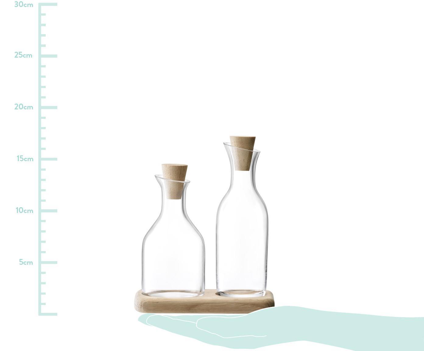Komplet dozowników do octu i oleju Serve, 3 elem., Dozownik: transparentny Dolna część: drewno dębowe Zamknięcie: drewno dębowe, Różne rozmiary