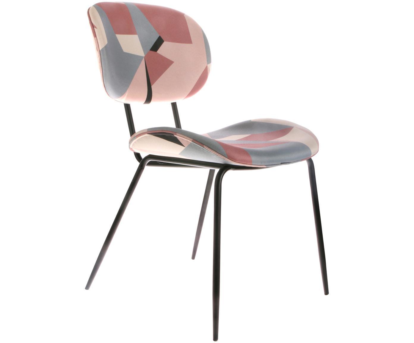 Gestoffeerde stoelen Dining, 2 stuks, Bekleding: polyester fluweel, Poten: gepoedercoat metaal, Multicolour, B 63 x D 48 cm