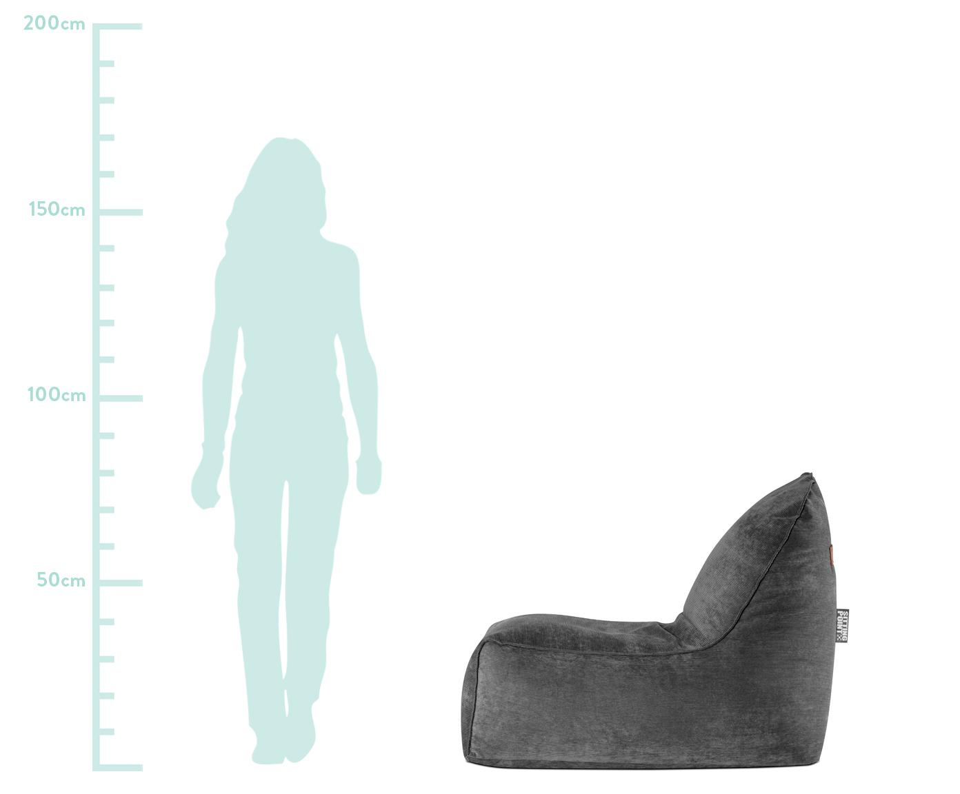 Cord-Sitzsack Cordone, Bezug: Cord (96% Polyester, 4% P, Griff: Polyester (Lederimitat), Anthrazit, 70 x 80 cm