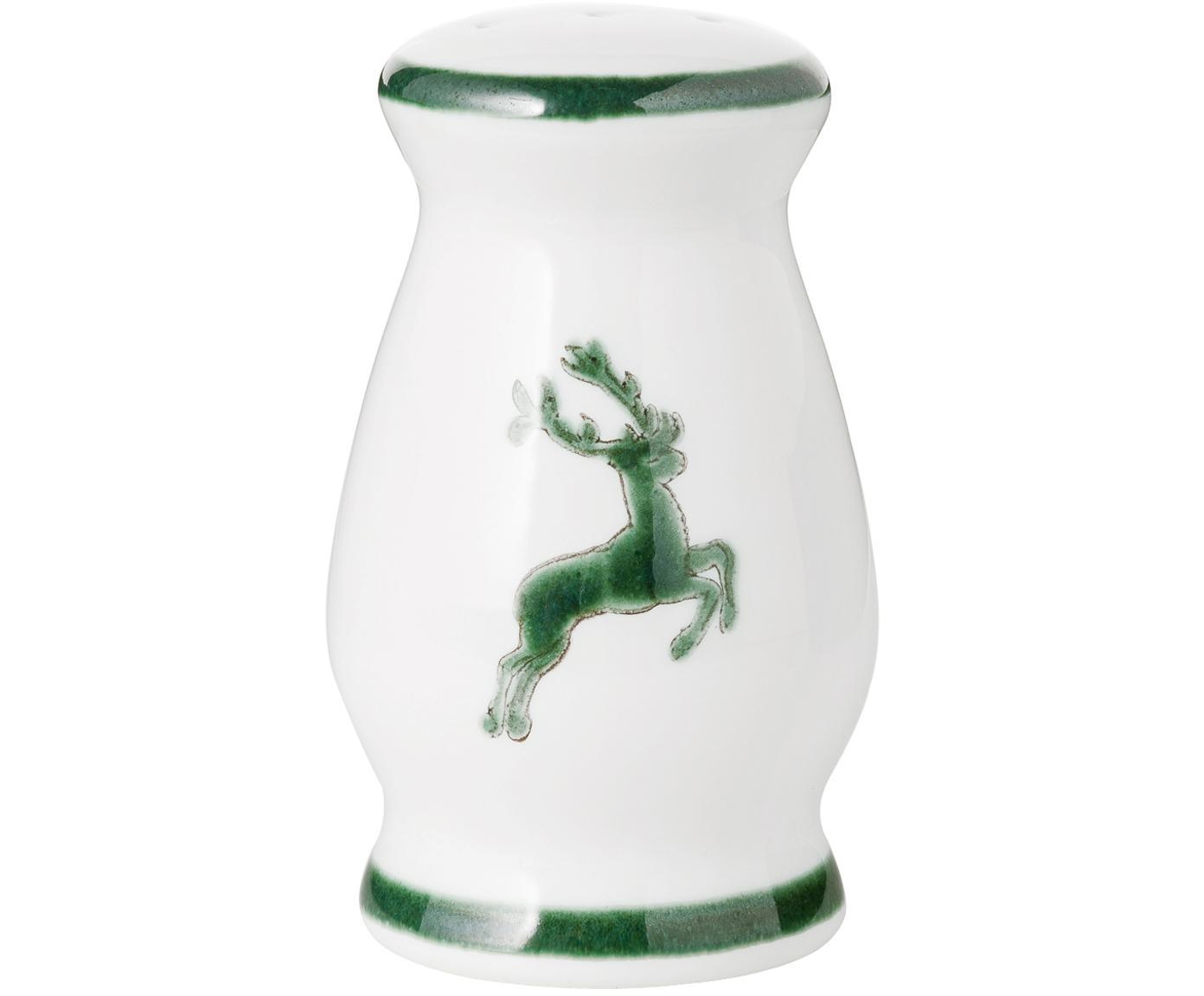 Ręcznie malowana pieprzniczka Gourmet Grüner Hirsch, Ceramika, Zielony, biały, 4 x 6 cm