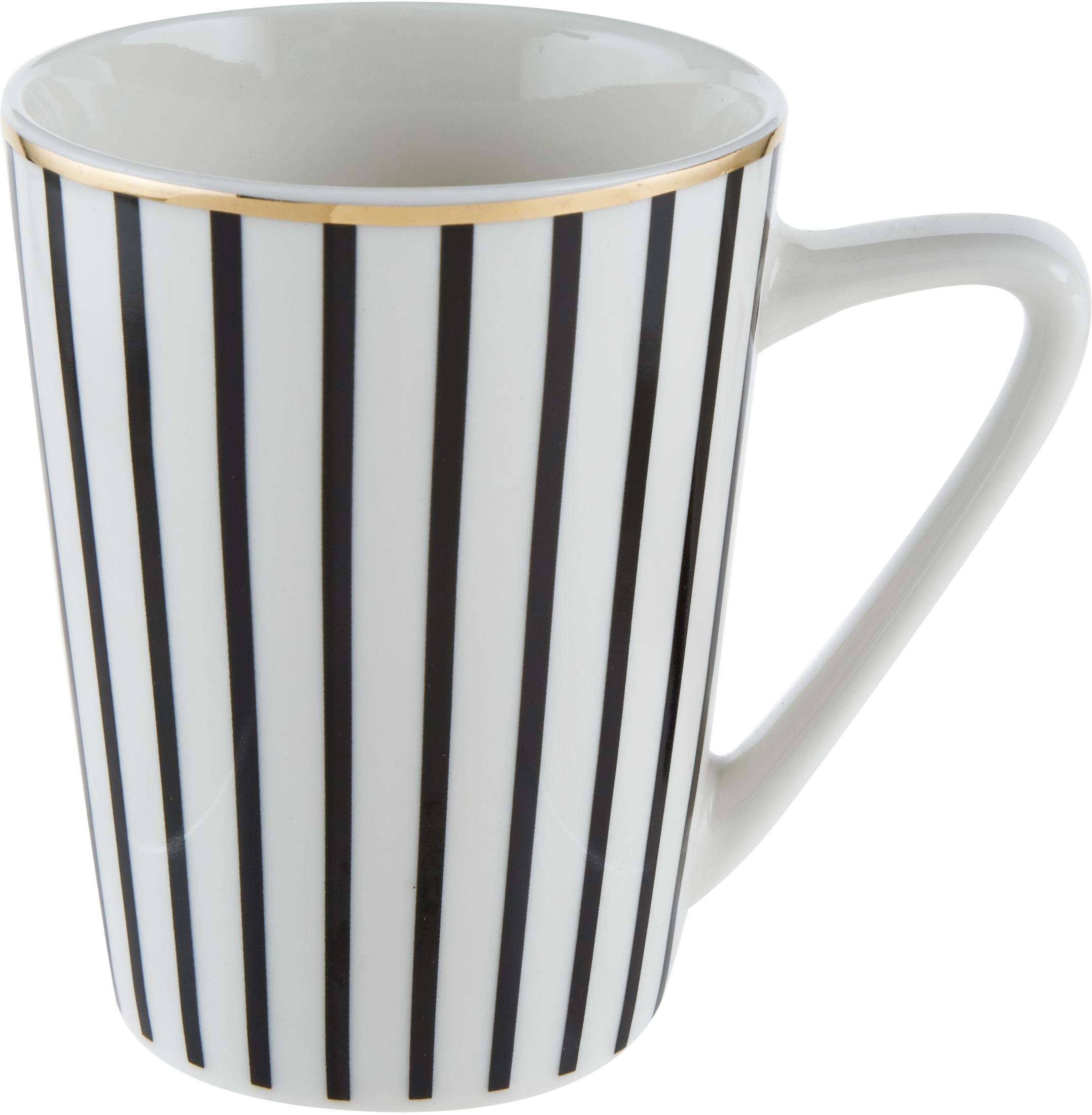 Tazza da tè Pluto Loft, 4 pz., Porcellana, Nero, bianco, Ø 8 x Alt. 10 cm