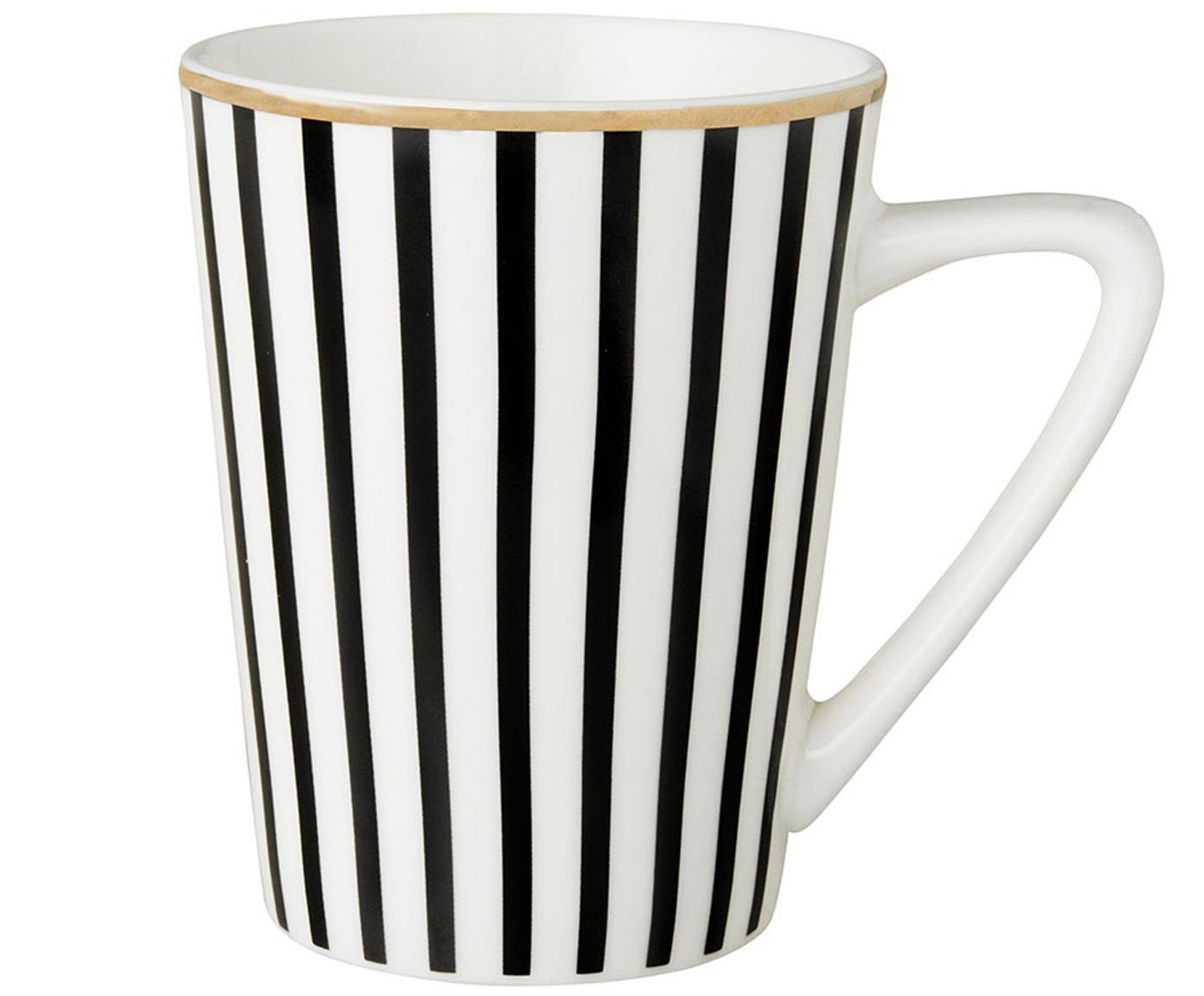 Tazas de té Pluto Loft, 4uds., Porcelana, Negro, blanco, Ø 8 x Al 10 cm
