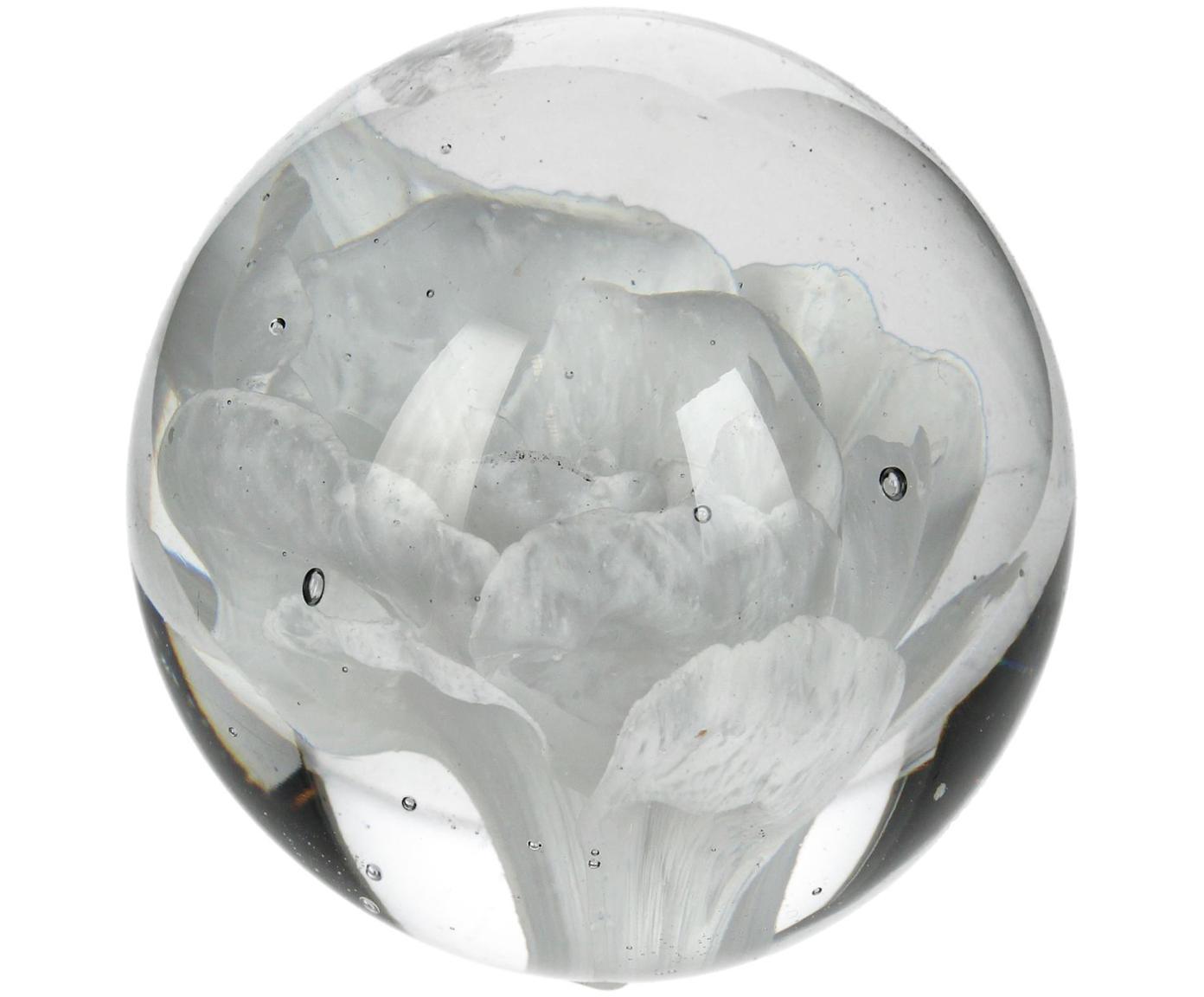 Presse-papier Flower, Glas, Wit, Ø 7 x H 7 cm