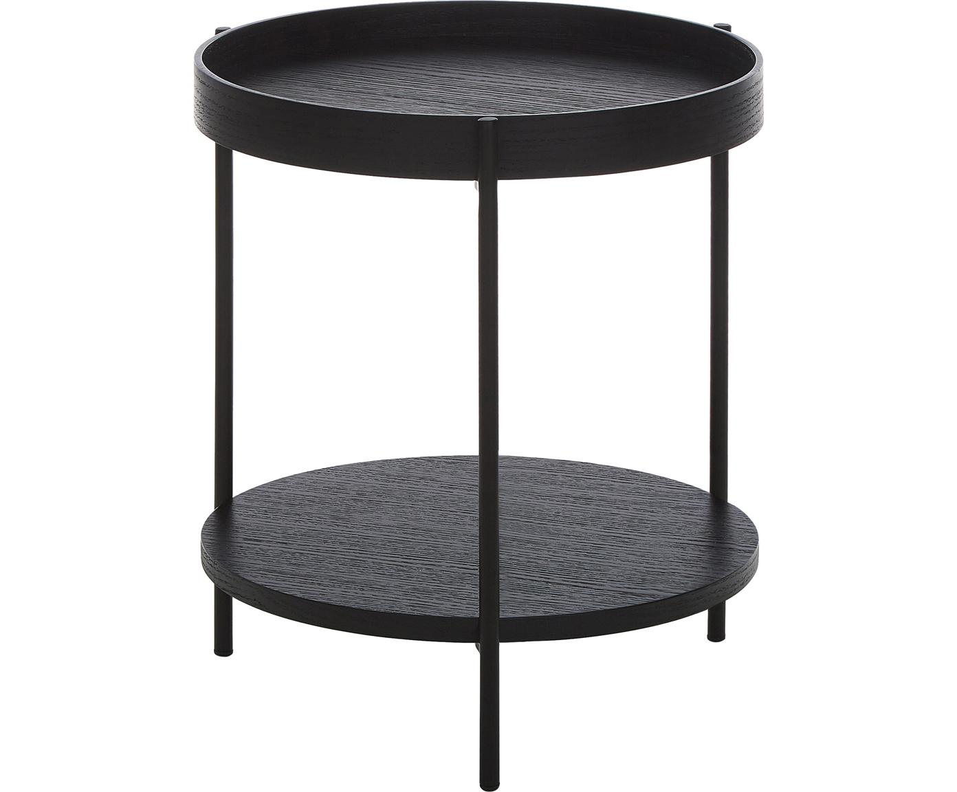 Mesa auxiliar con estante Renee, Tablero: tablero de fibras de dens, Estructura: metal, con pintura en pol, Tablero: negro Estructura: negro mate, Ø 44 x Al 49 cm