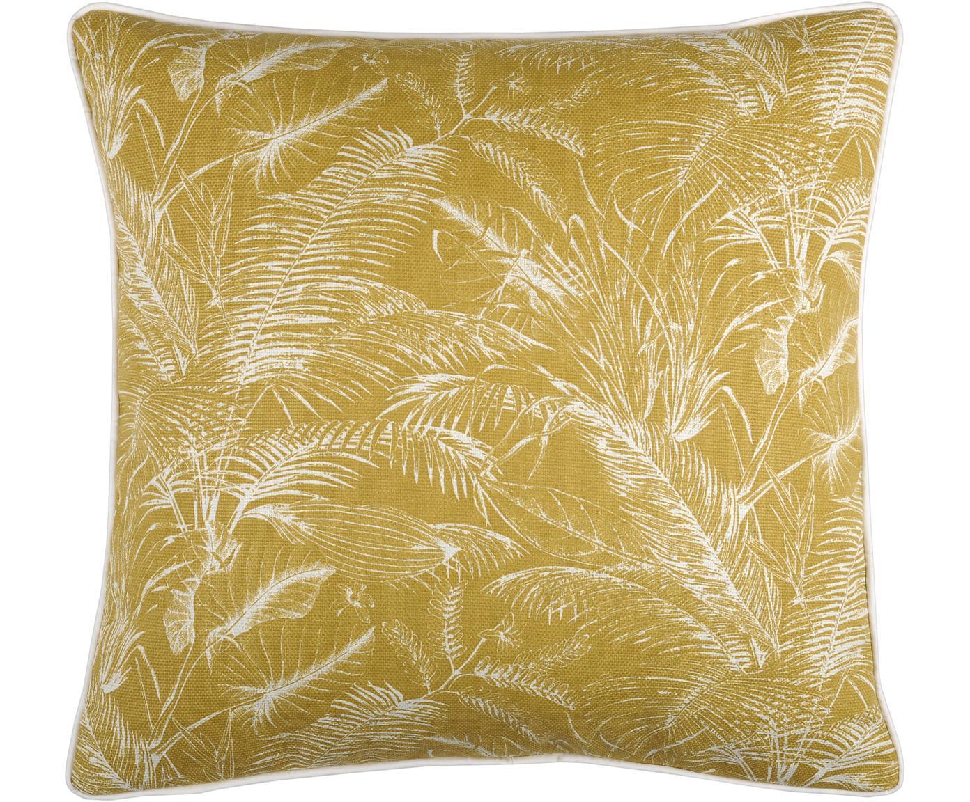 Gelbes Kissen Tropicale mit Palmen Print, mit Inlett, 100% Baumwolle, Senfgelb, 50 x 50 cm