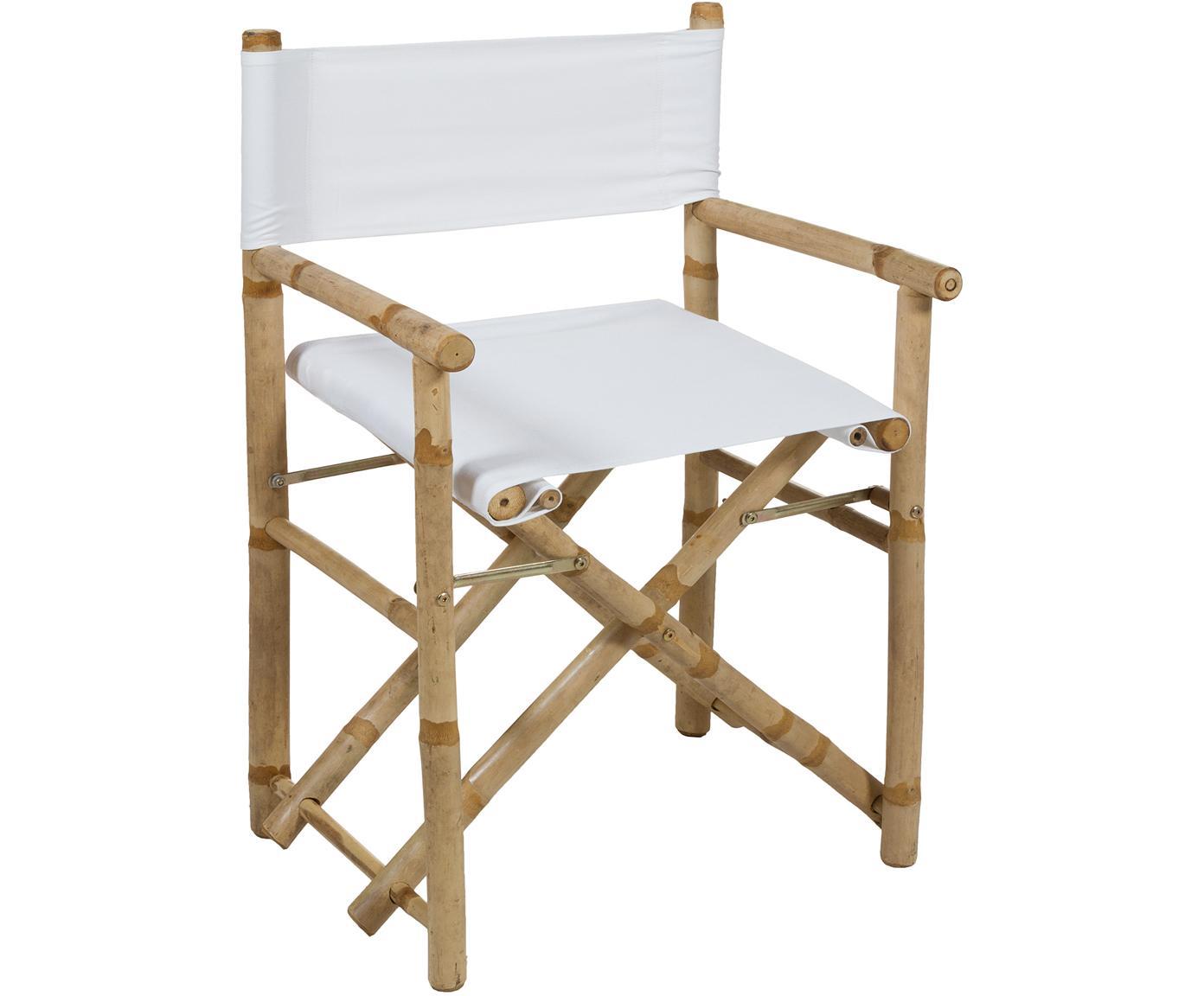 Składane krzesło reżysera z drewna bambusowego Limboo, Stelaż: drewno bambusowe, Drewno bambusowe, biały, S 58 x G 45 cm