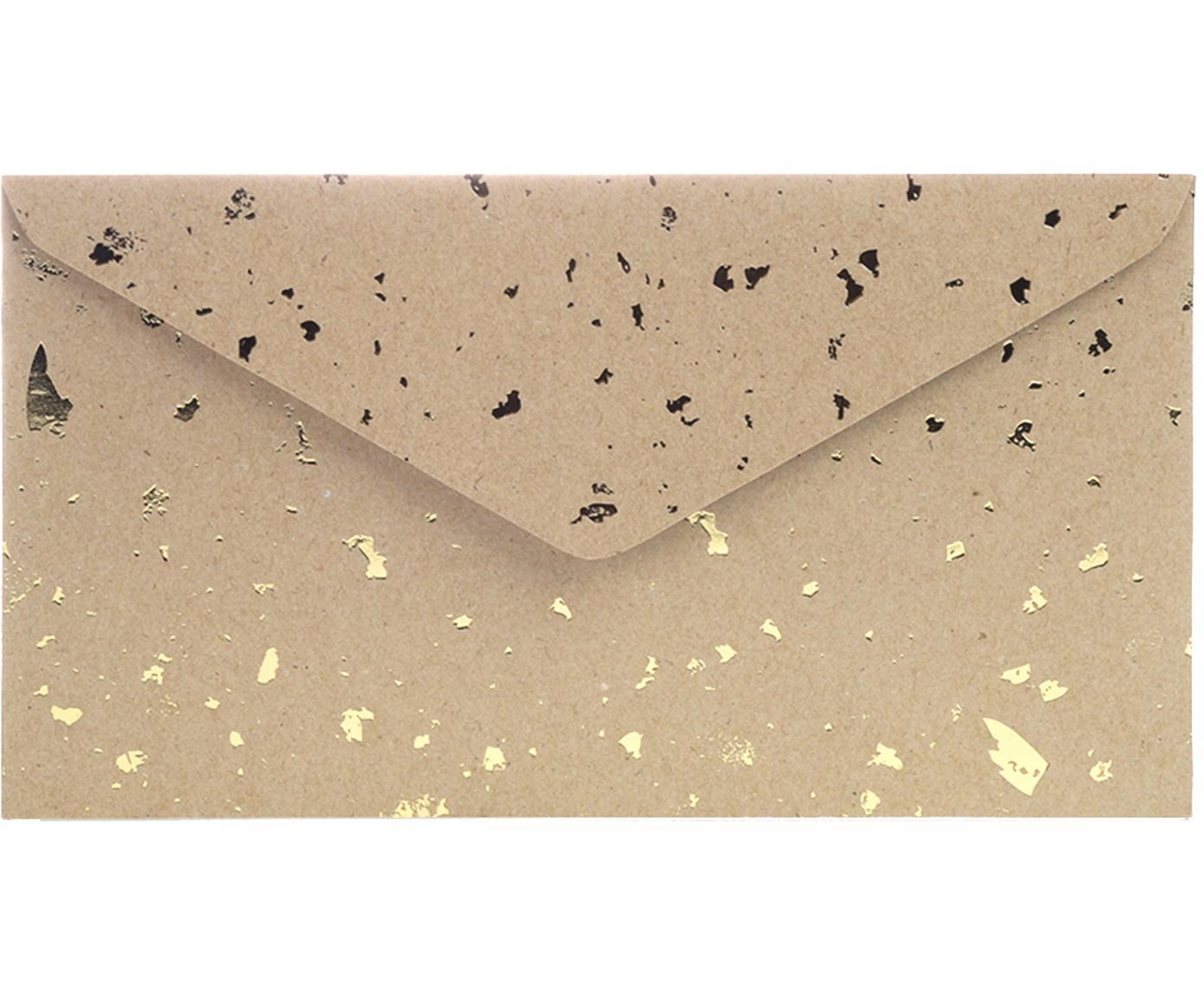Umschläge Carat, 3 Stück, Kraftpapier, Braun, Goldfarben, 24 x 14 cm