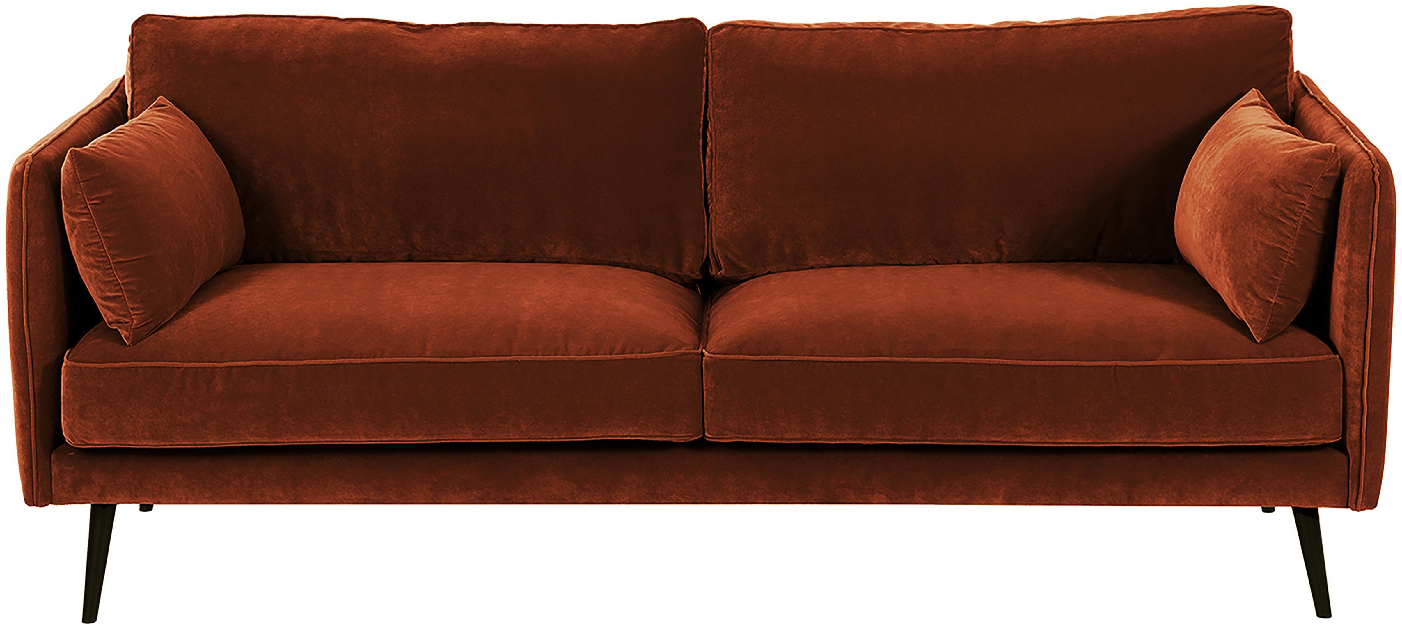 Sofa z aksamitu Paola (3-osobowa), Tapicerka: aksamit (poliester) 7000, Stelaż: masywne drewno świerkowe,, Nogi: drewno świerkowe, lakiero, Aksamit rudy, S 209 x G 95 cm