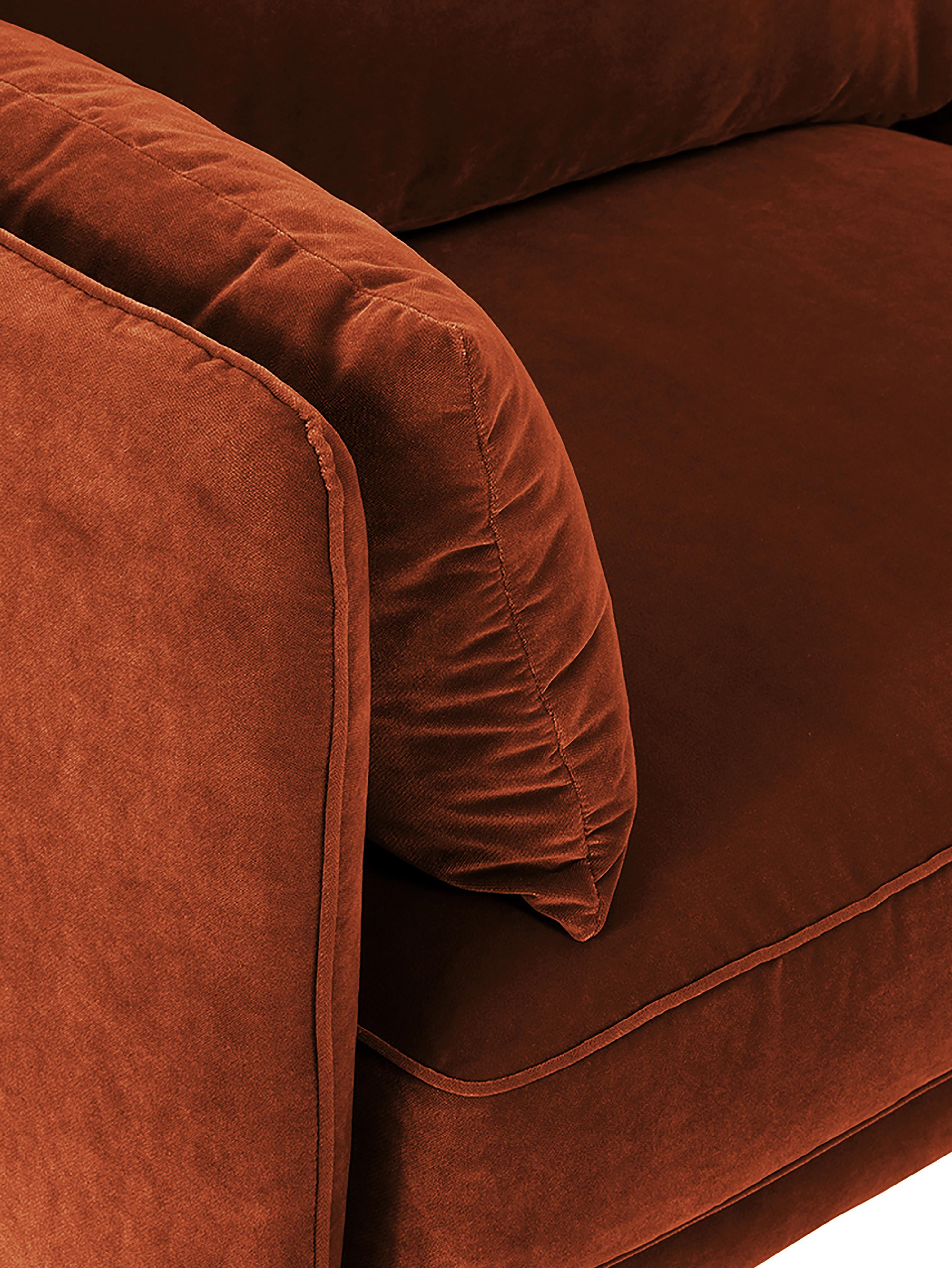 Sofá de terciopelo Paola (3plazas), Tapizado: terciopelo (poliéster) 70, Estructura: madera de abeto maciza, a, Patas: madera de abeto pintada, Rojo cobrizo, An 209 x F 95 cm
