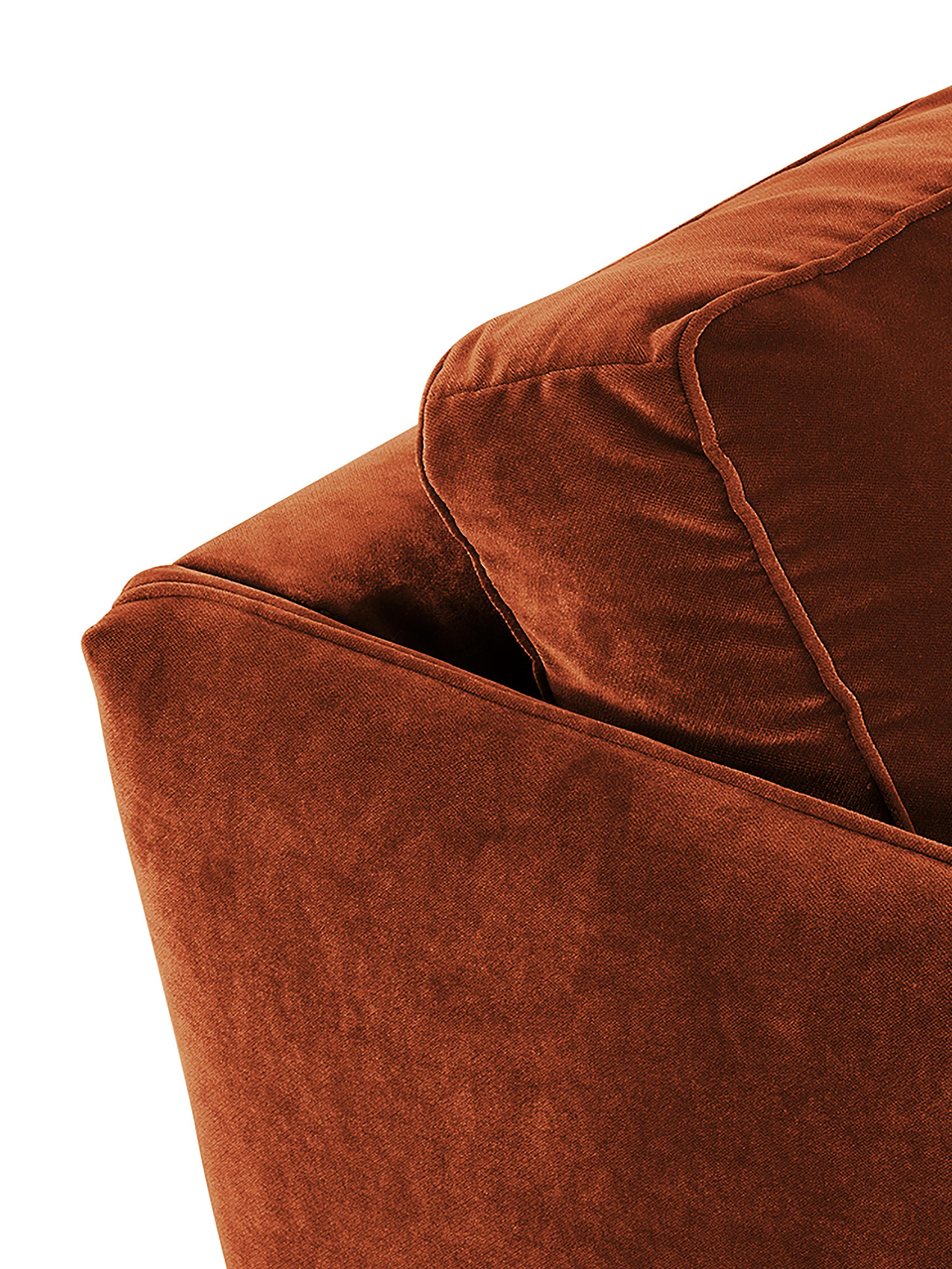 Samt-Sofa Paola (3-Sitzer), Bezug: Samt (Polyester) 70.000 S, Gestell: Massives Fichtenholz, Spa, Füße: Fichtenholz, lackiert, Samt Rostrot, 209 x 86 cm