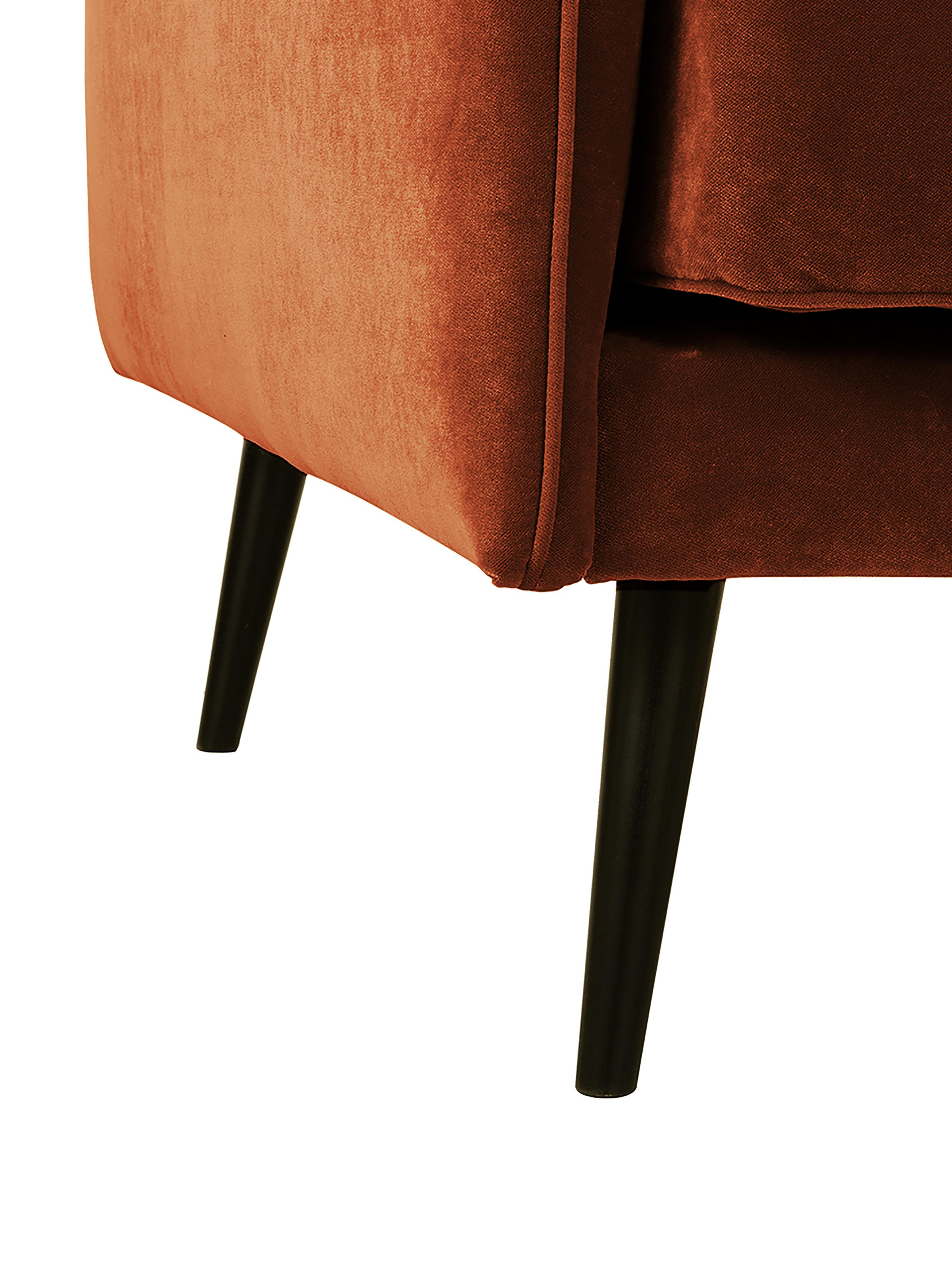 Fluwelen bank Paola (3-zits), Bekleding: fluweel (polyester), Frame: massief vurenhout, spaanp, Poten: gelakt vurenhout Het FSC-, Roestrood, B 209 x D 95 cm