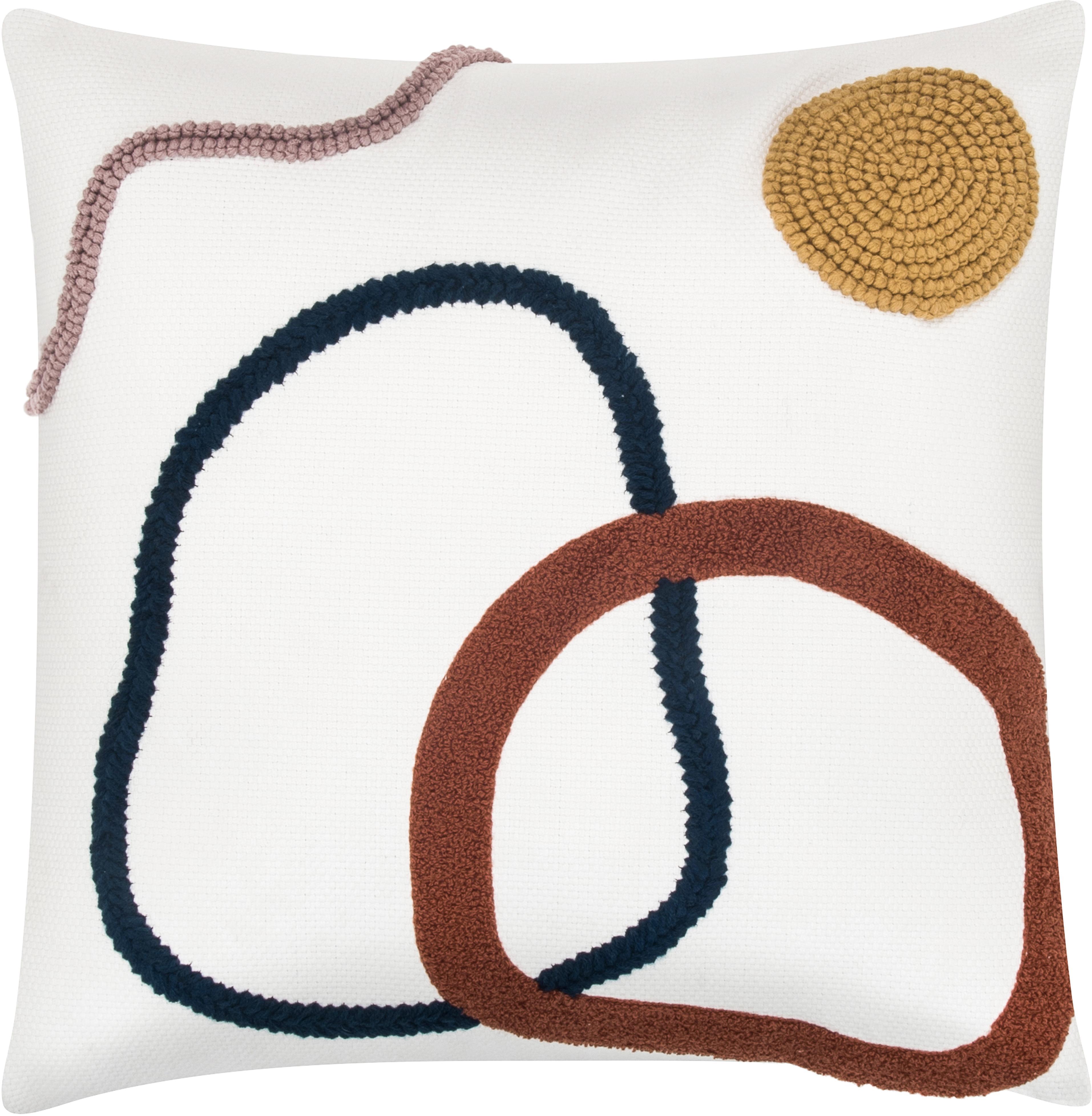 Kissenhülle Pablo mit abstrakter Verzierung, 100% Baumwolle, Vorderseite: MehrfarbigRückseite: Weiss, 45 x 45 cm