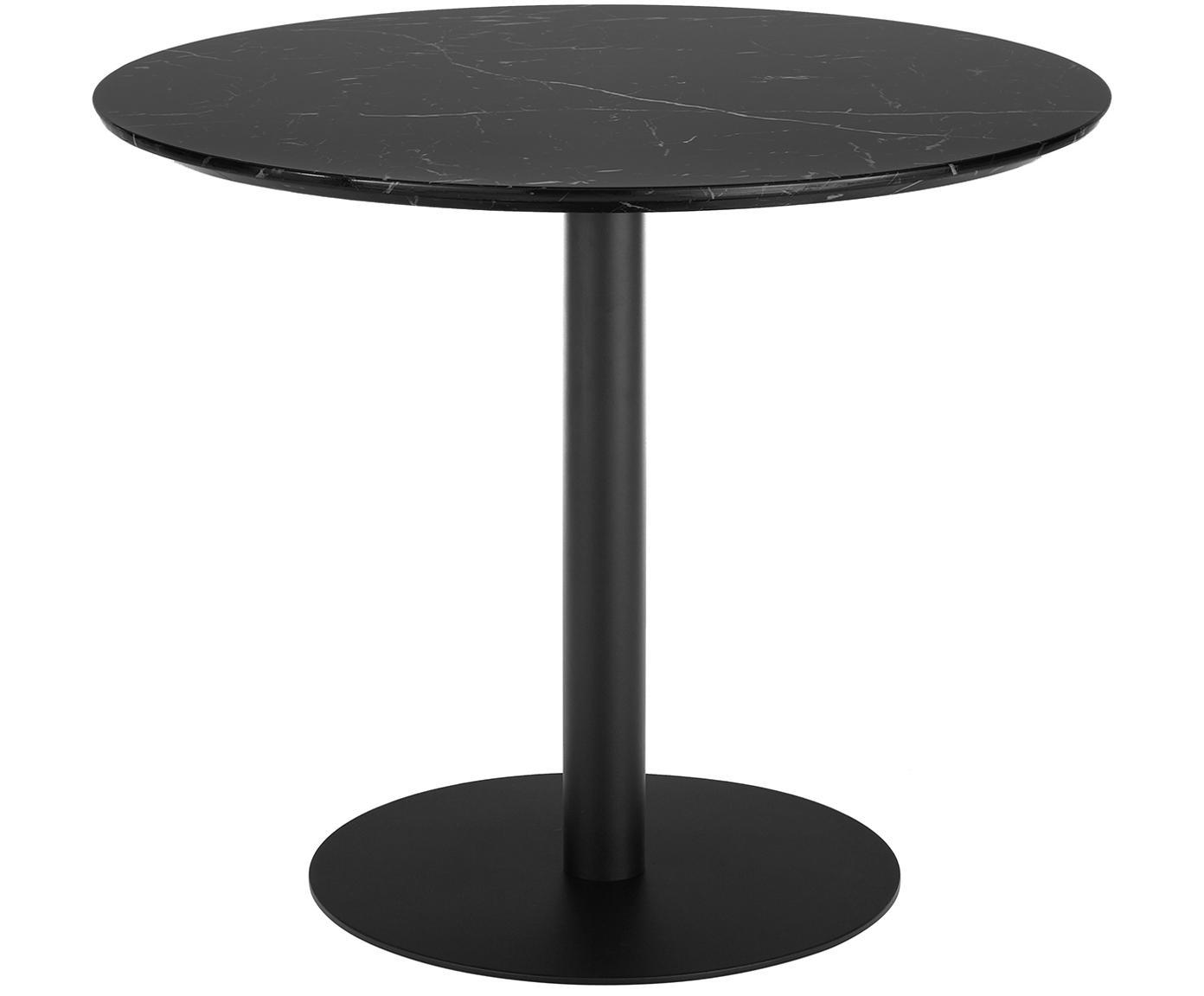 Marmeren ronde eettafel Karla, Tafelblad: MDF, bedekt met gelakt pa, Tafelblad: zwart, gemarmerd. Tafelpoot: mat zwart, Ø 90 x H 75 cm