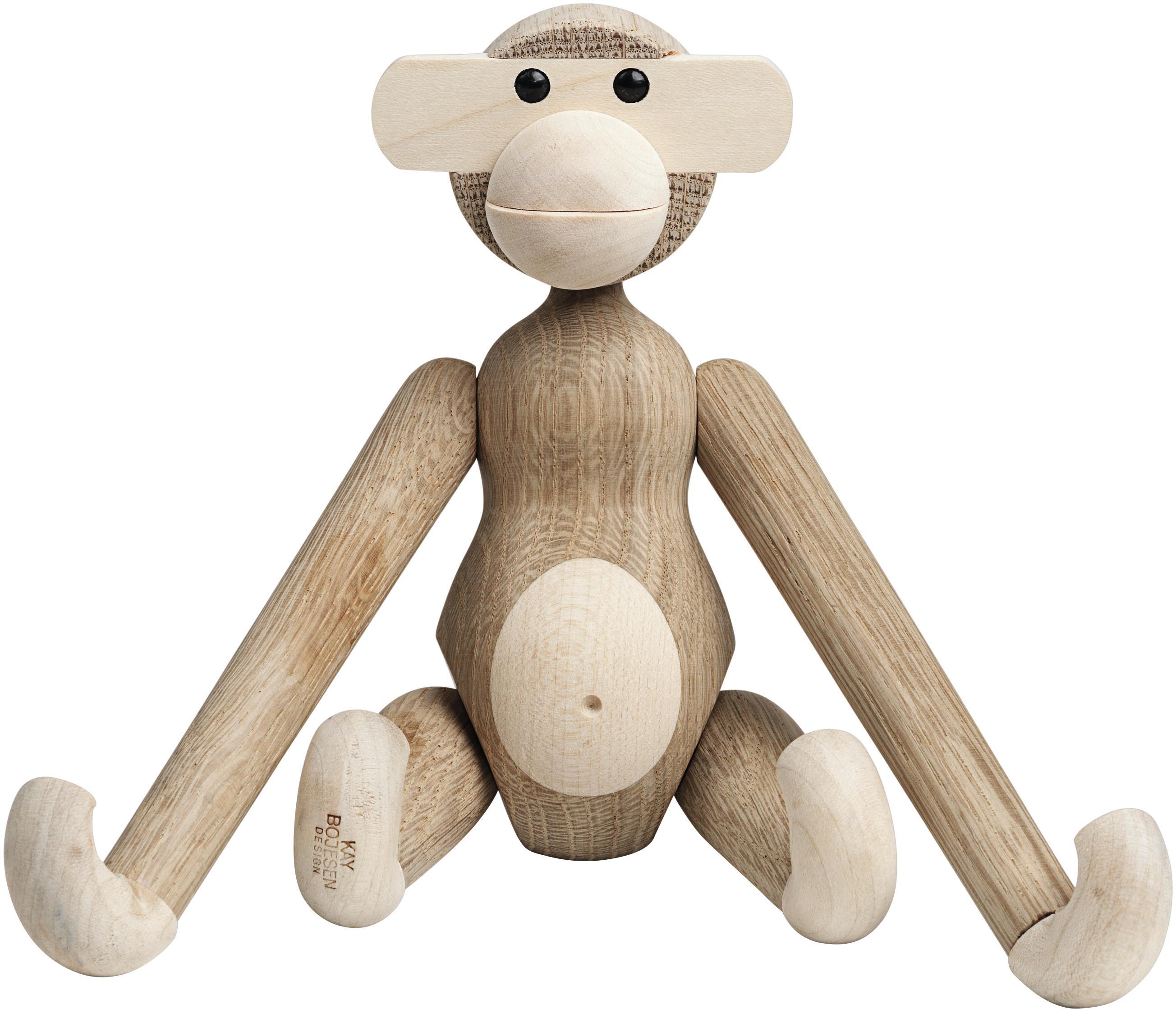 Dekoracja Monkey, drewno dębowe, Drewno dębowe, drewno klonowe, lakierowane, Drewno dębowe, drewno klonowe, S 20 x W 19 cm