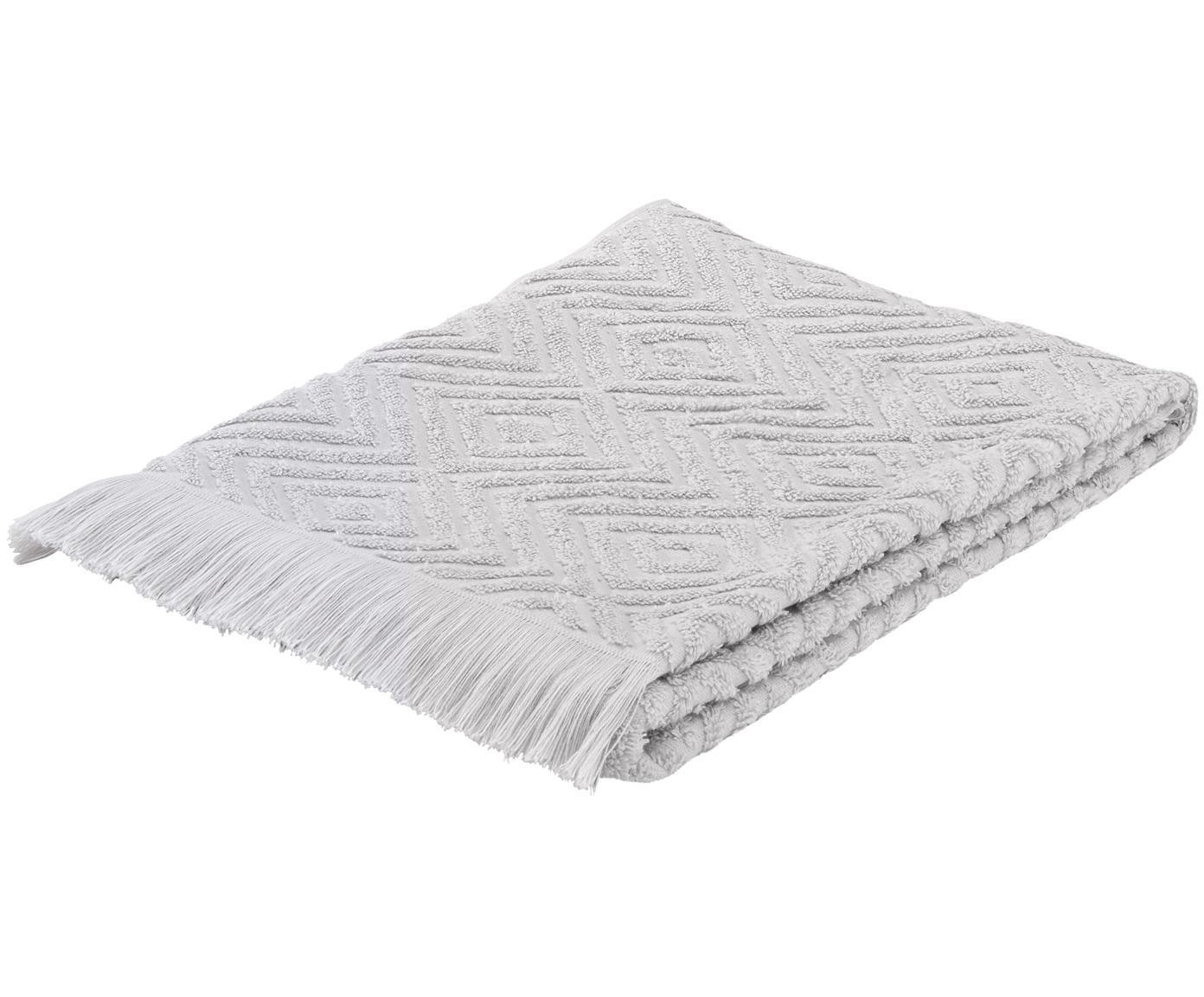 Handtuch Jacqui in verschiedenen Grössen, mit Hoch-Tief-Muster, Hellgrau, Gästehandtuch