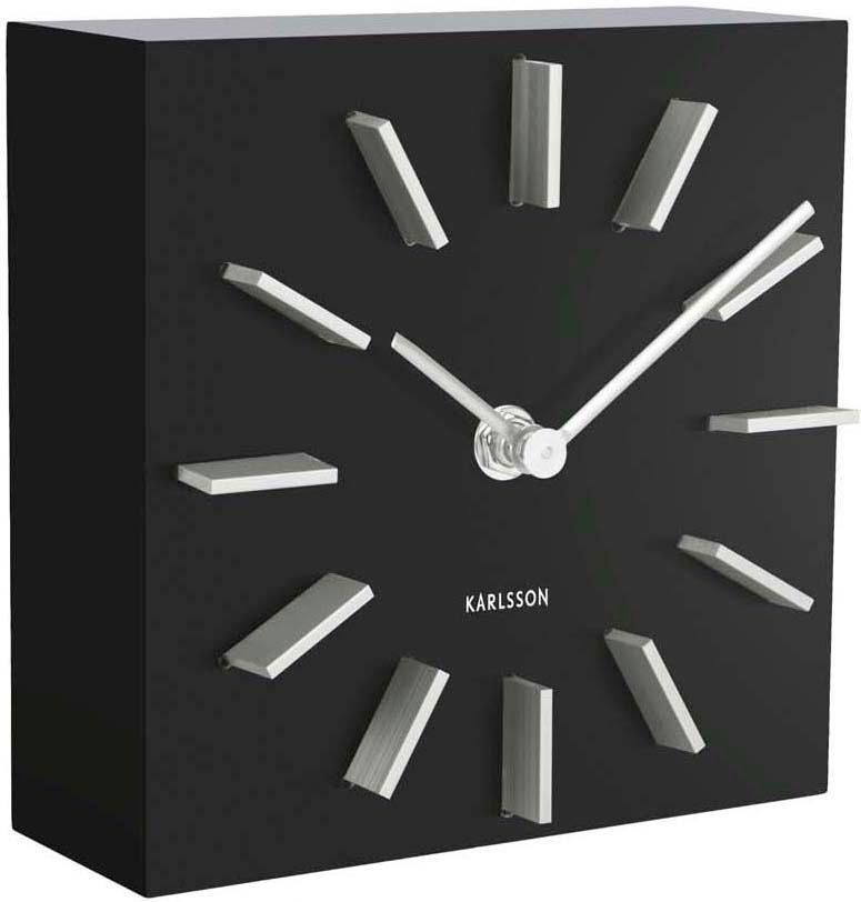 Zegar stołowy Discreet, Płyta pilśniowa (MDF), Czarny, biały, S 15 x W 15 cm